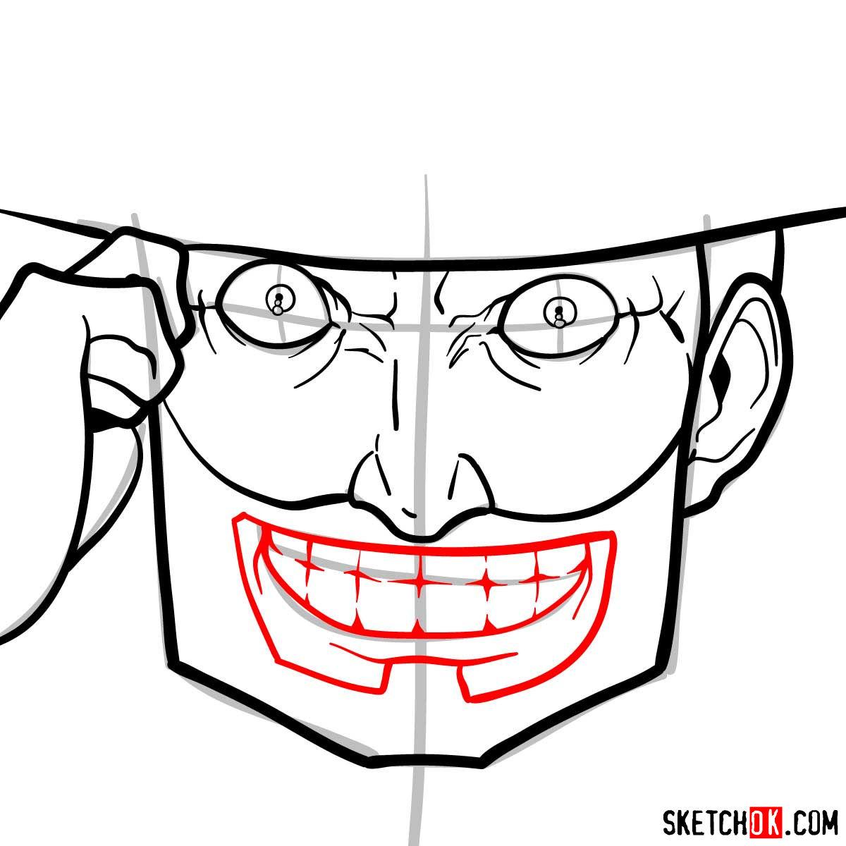 How to draw Mad Pierrot Tongpu | Cowboy Bebop anime - step 07