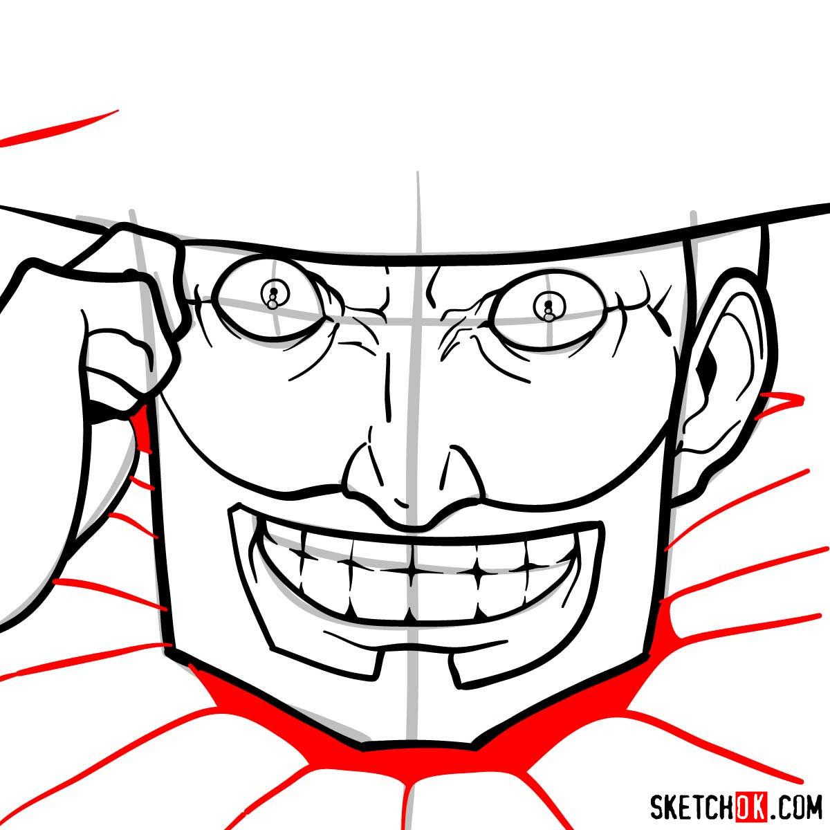 How to draw Mad Pierrot Tongpu | Cowboy Bebop anime - step 08