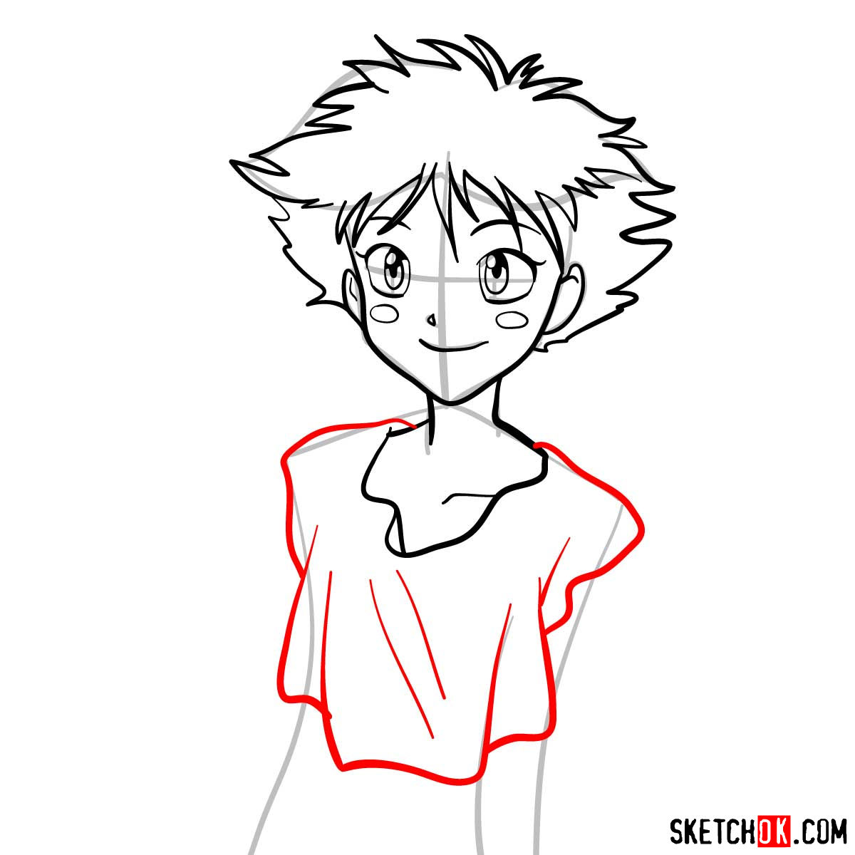 How to draw Ed from Cowboy Bebop anime - step 07