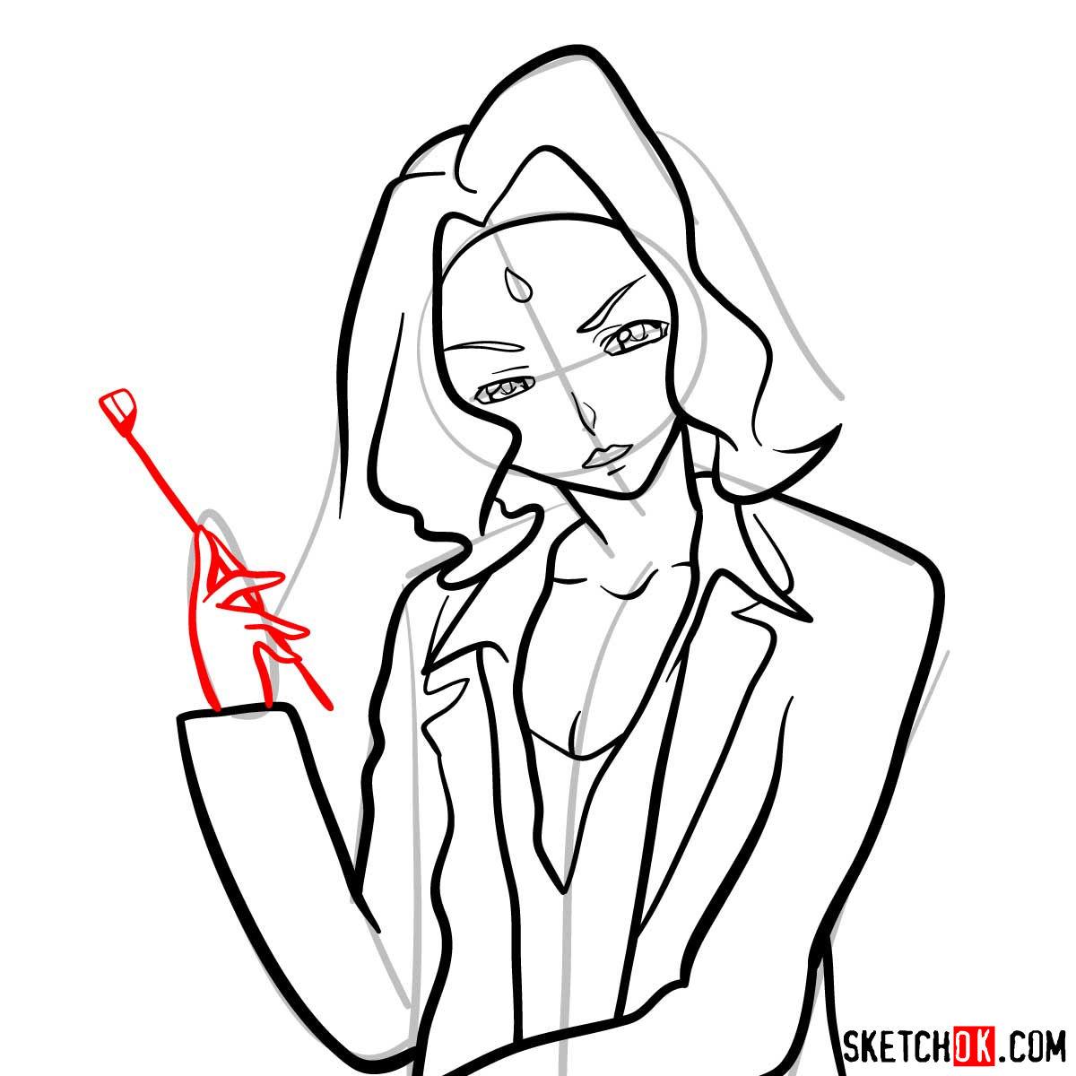 How to draw Rakshata Chawla | Code Geass anime - step 10