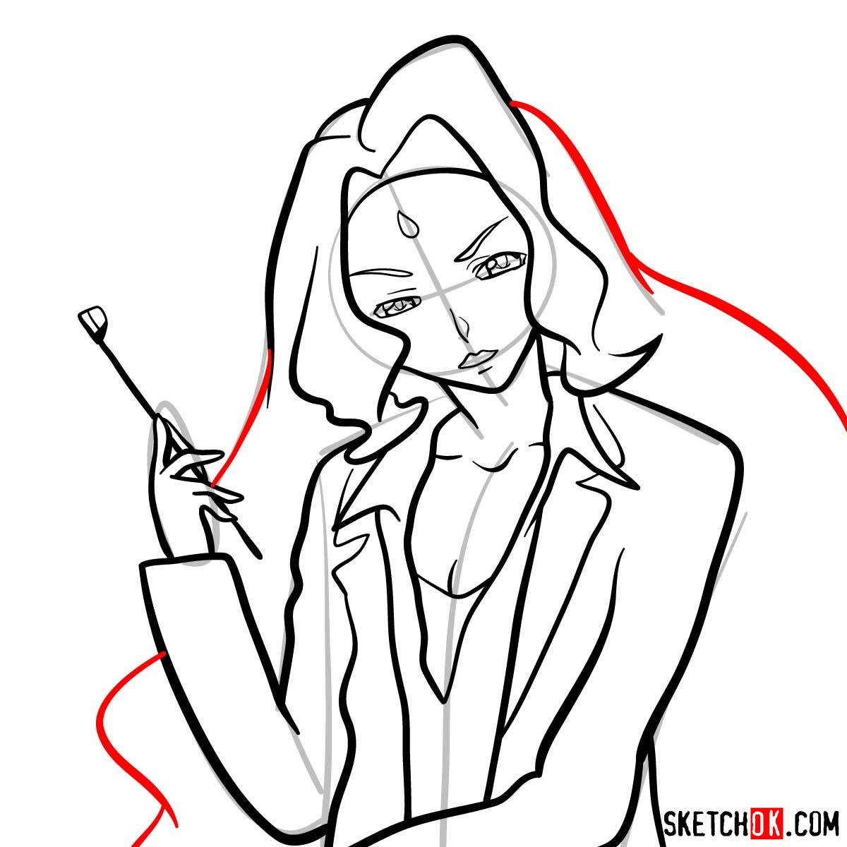 How to draw Rakshata Chawla | Code Geass anime - step 11