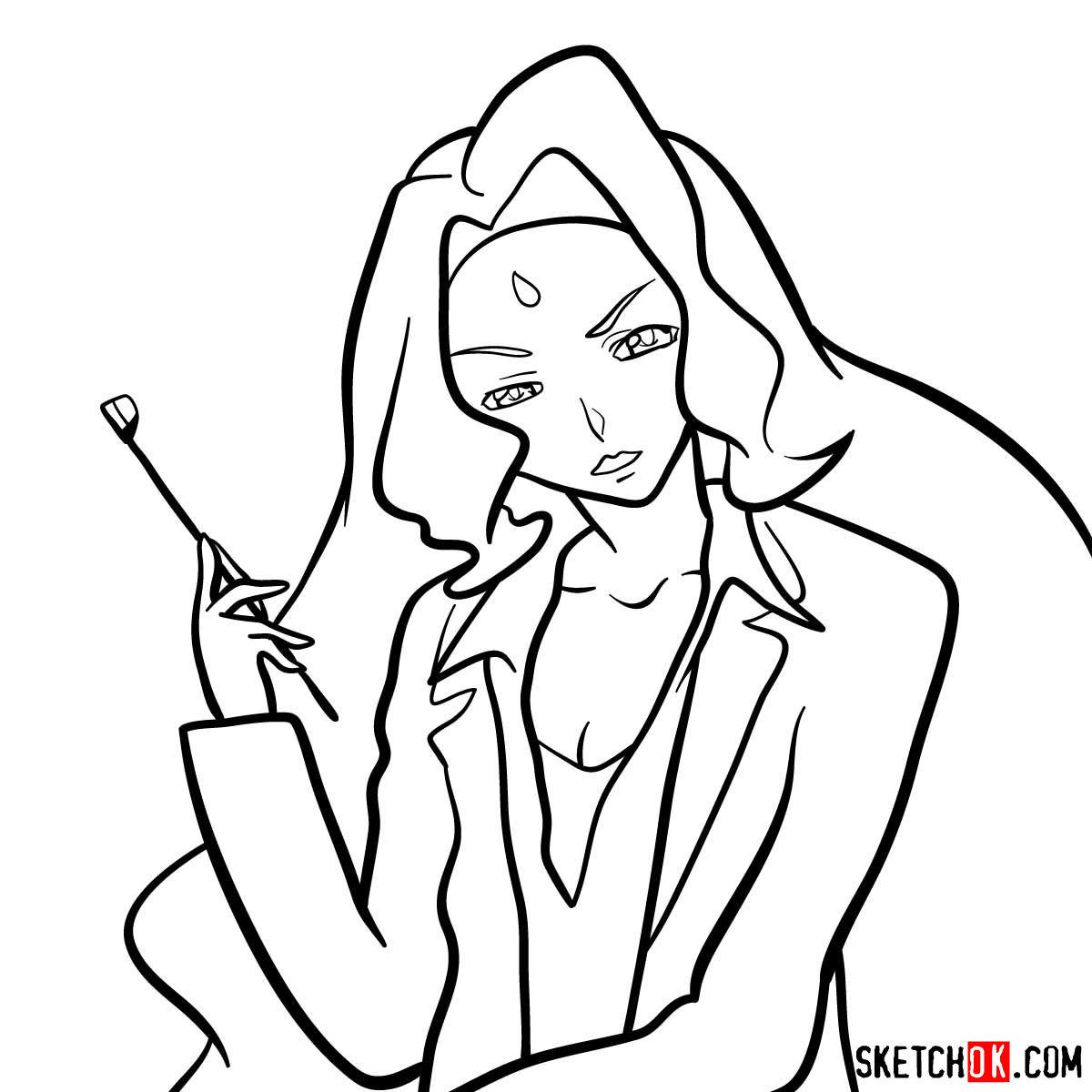 How to draw Rakshata Chawla | Code Geass anime - step 12