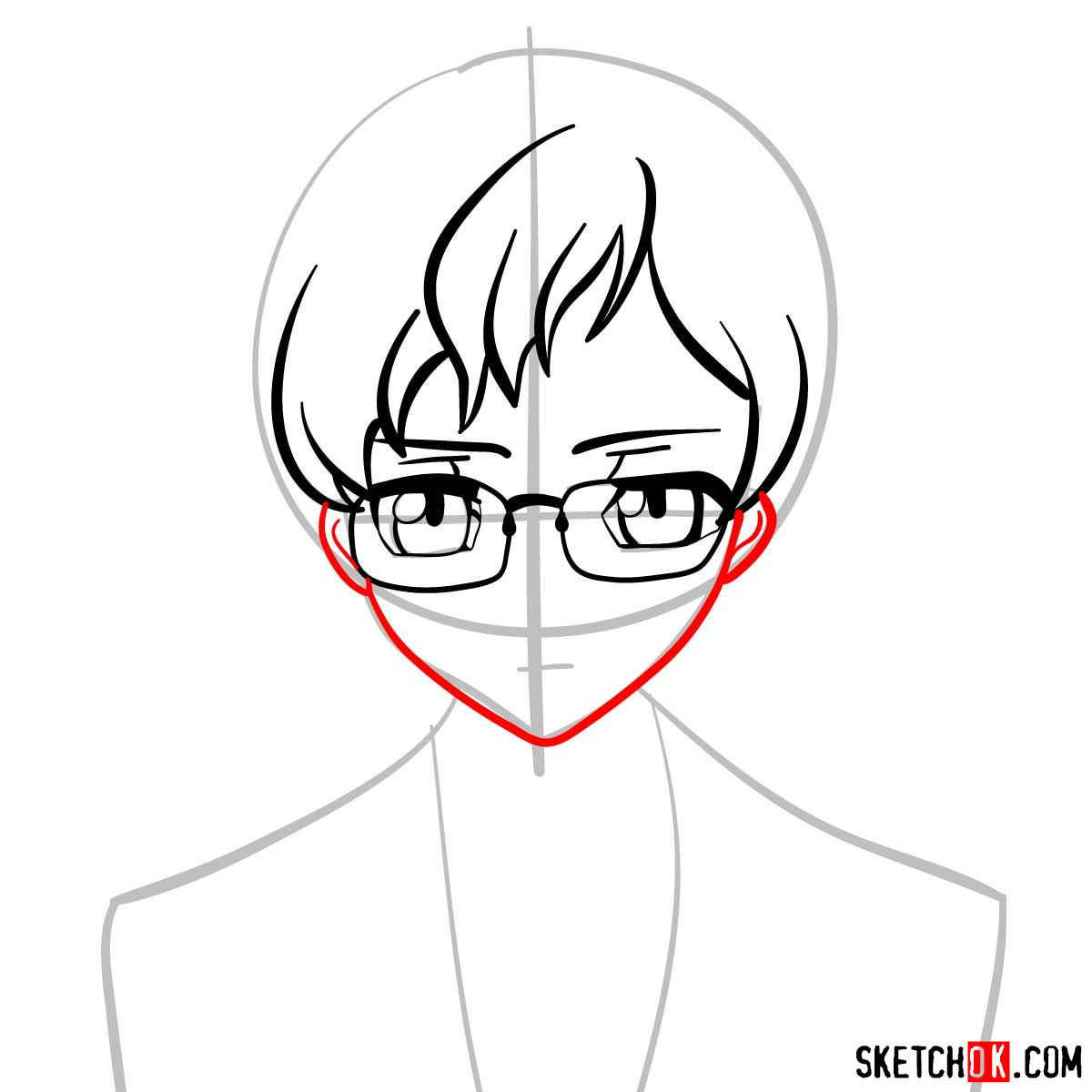 How to draw Rolo Lamperouge | Code Geass anime - step 05