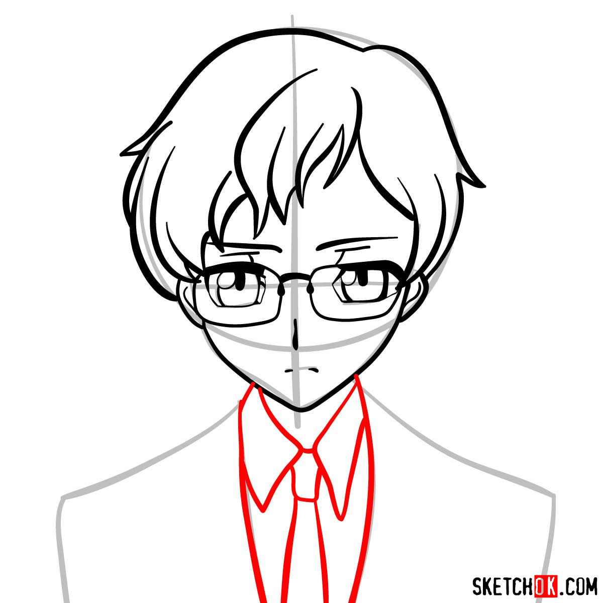 How to draw Rolo Lamperouge | Code Geass anime - step 07
