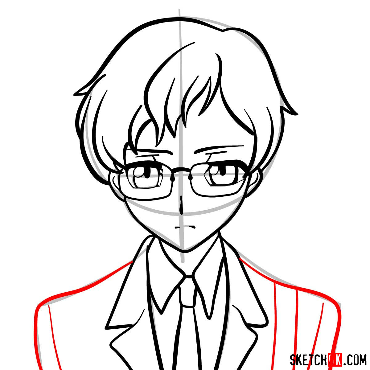 How to draw Rolo Lamperouge | Code Geass anime - step 09