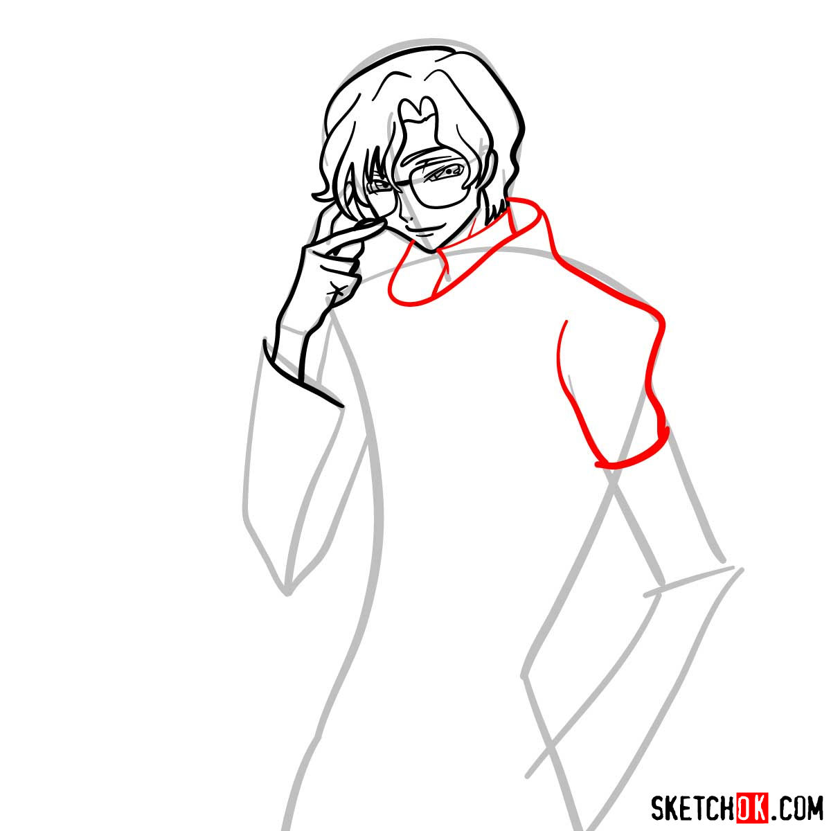 How to draw Lloyd Asplund   Code Geass anime - step 07