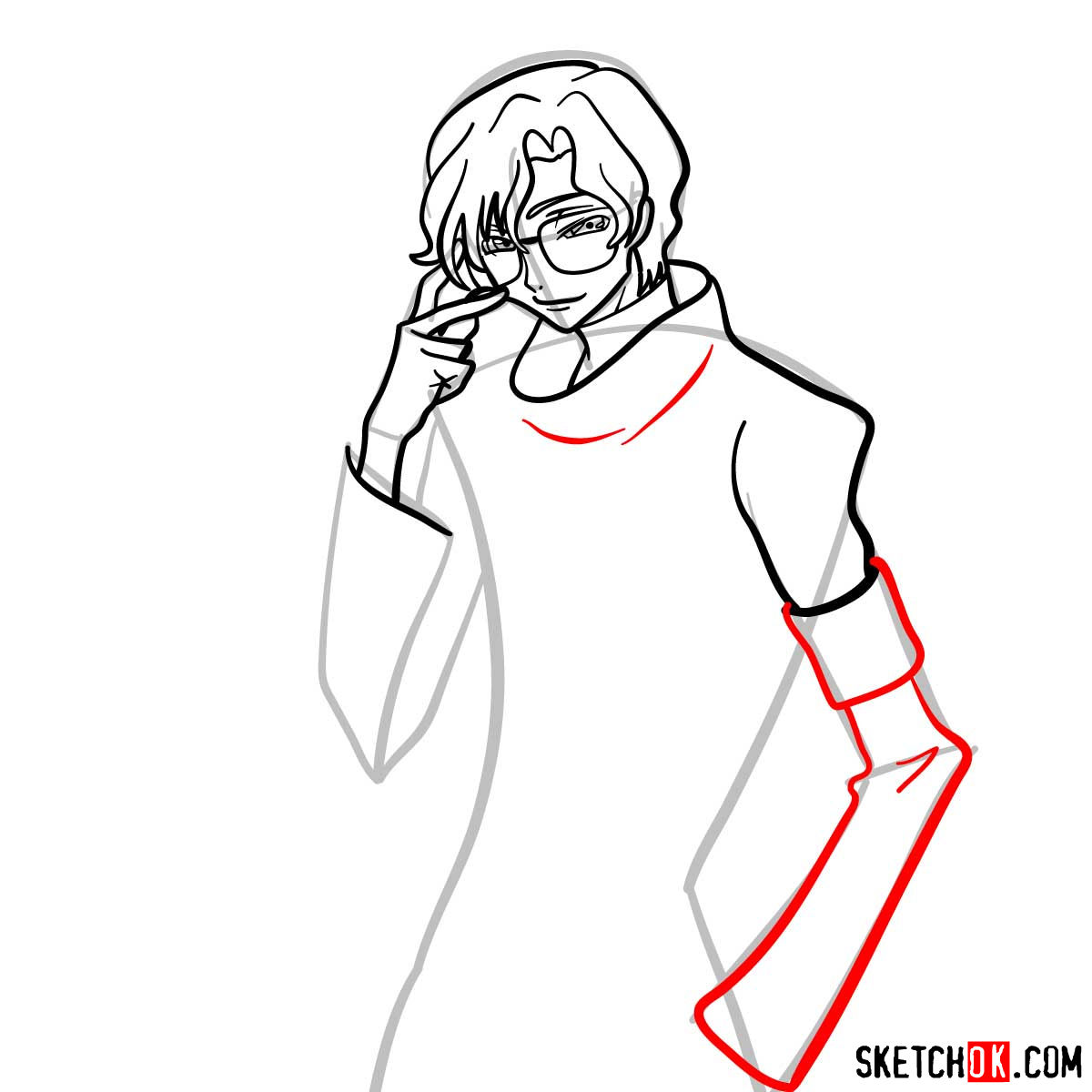How to draw Lloyd Asplund   Code Geass anime - step 08