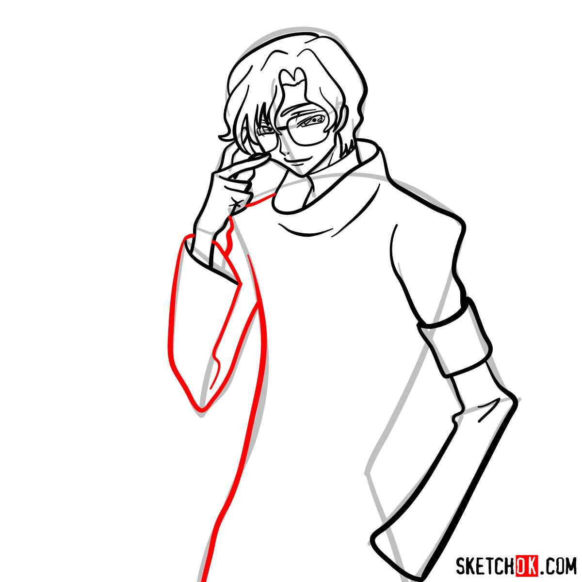 How to draw Lloyd Asplund   Code Geass anime - step 09