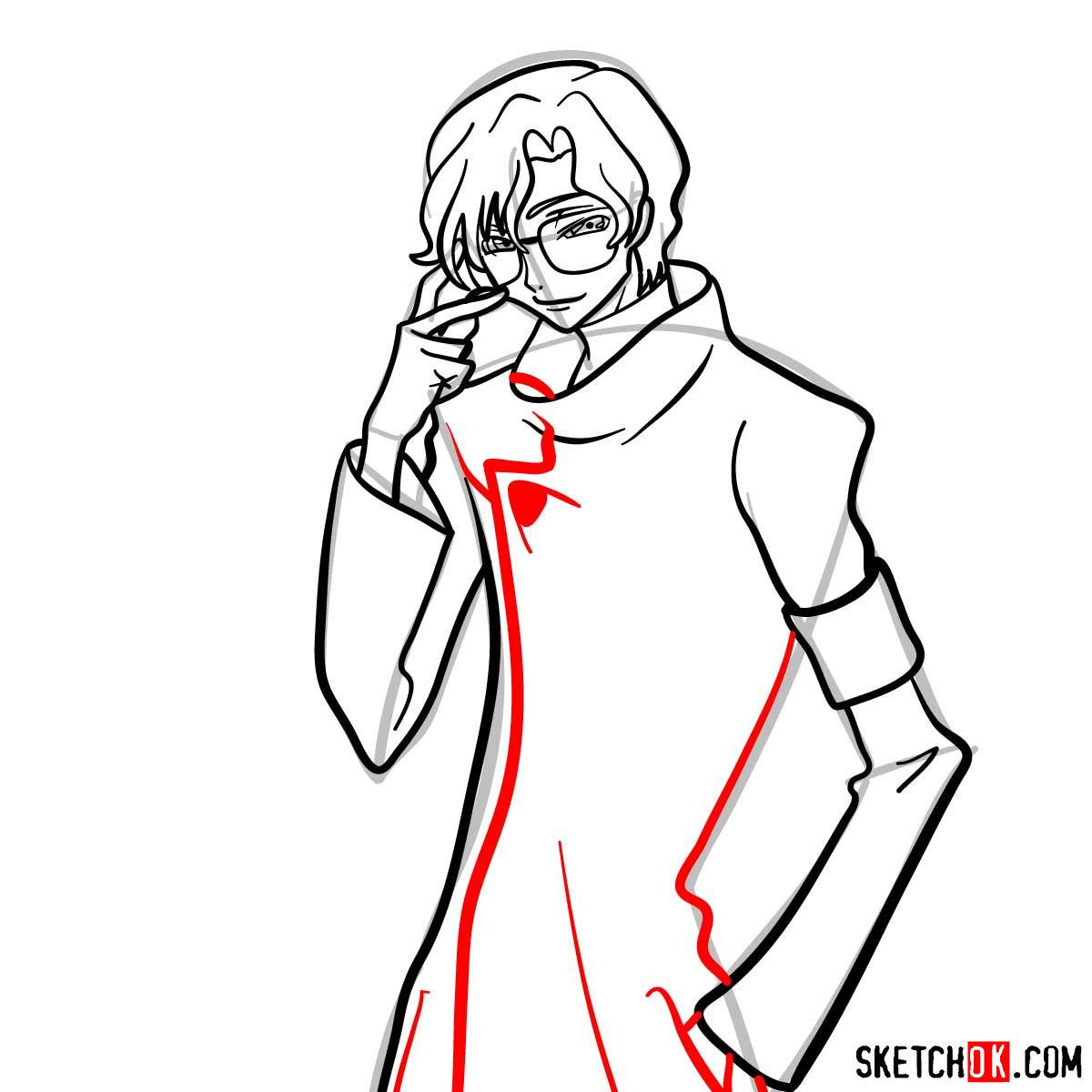 How to draw Lloyd Asplund   Code Geass anime - step 10