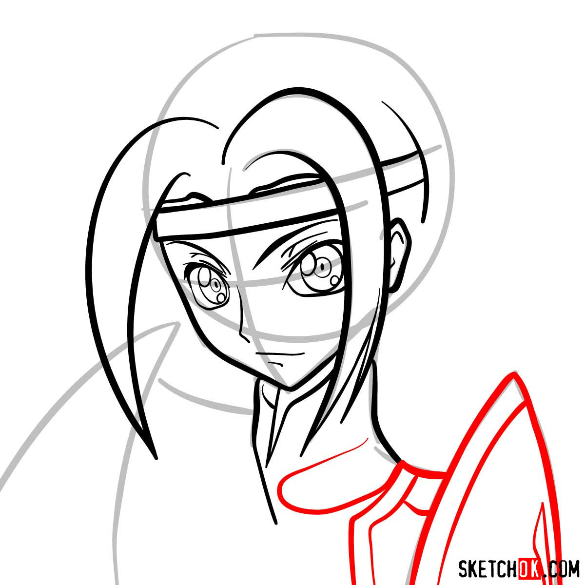 Making the drawing of Kallen Kozuki's face from Code Geass - step 08