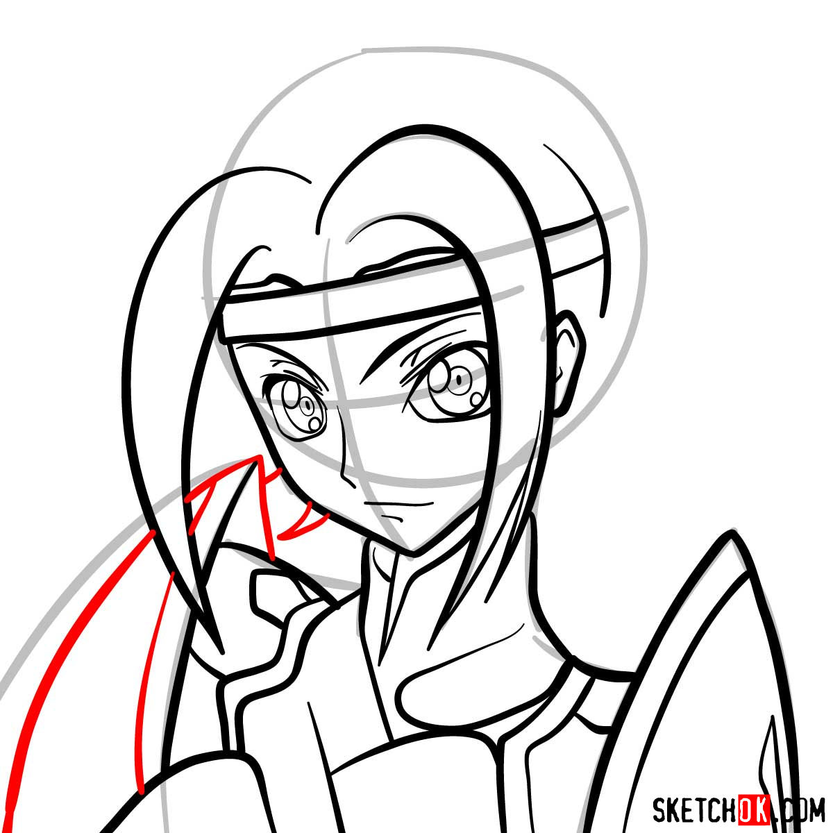 Making the drawing of Kallen Kozuki's face from Code Geass - step 10