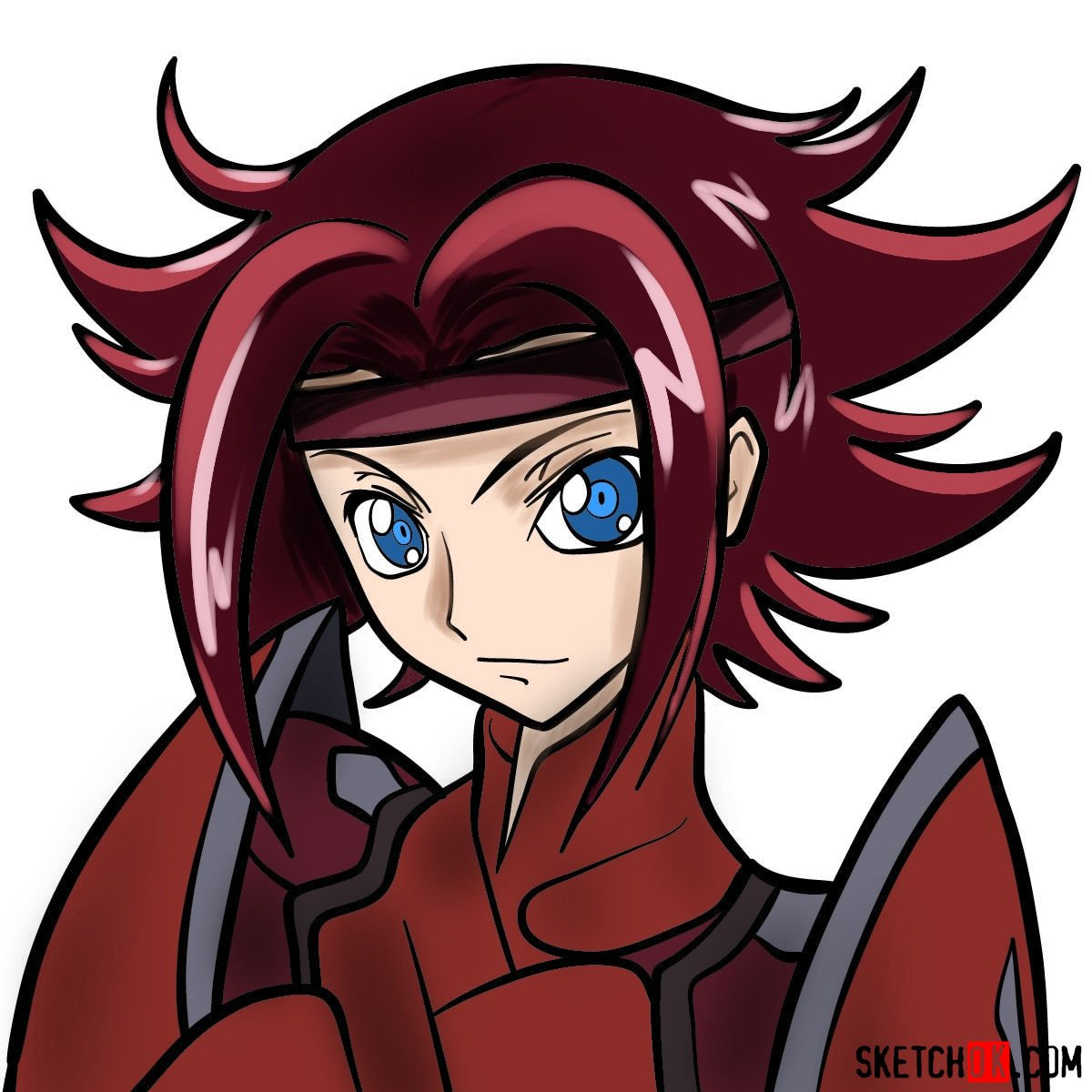 Making the drawing of Kallen Kozuki's face from Code Geass