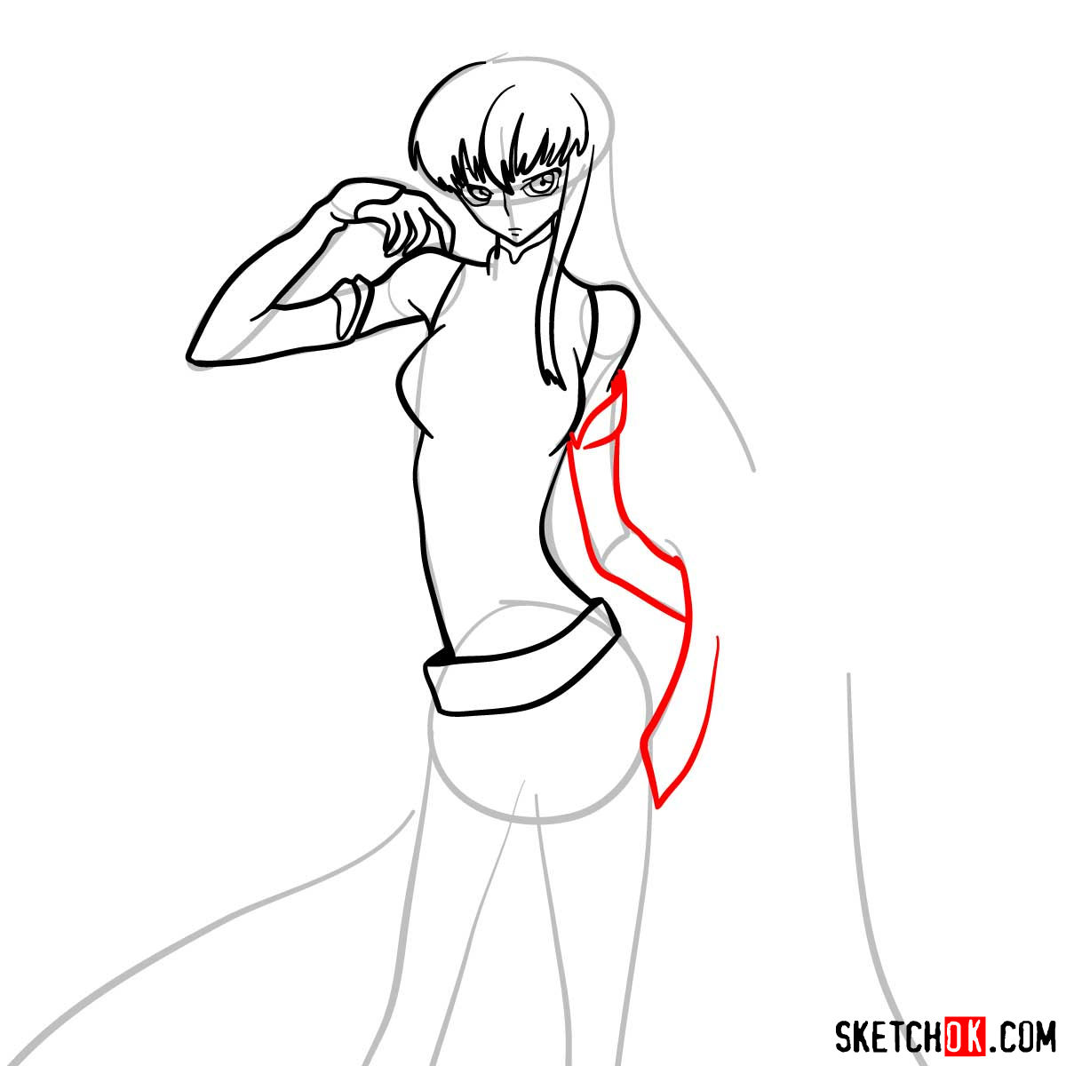 16 steps drawing guide of C.C. from Code Geass anime - step 10