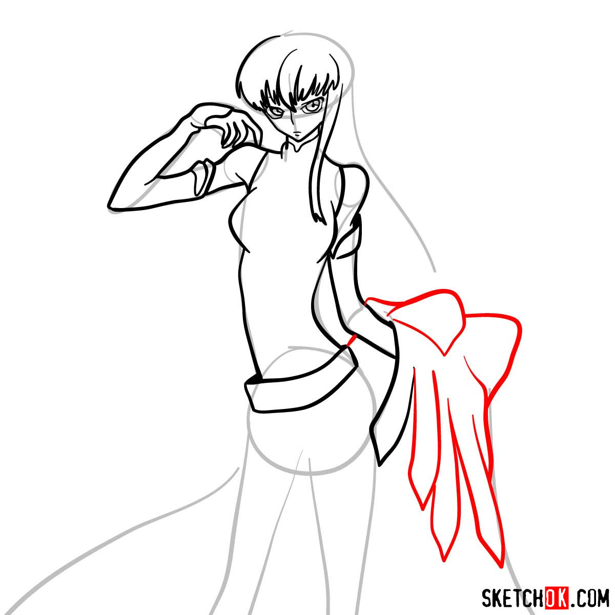 16 steps drawing guide of C.C. from Code Geass anime - step 11