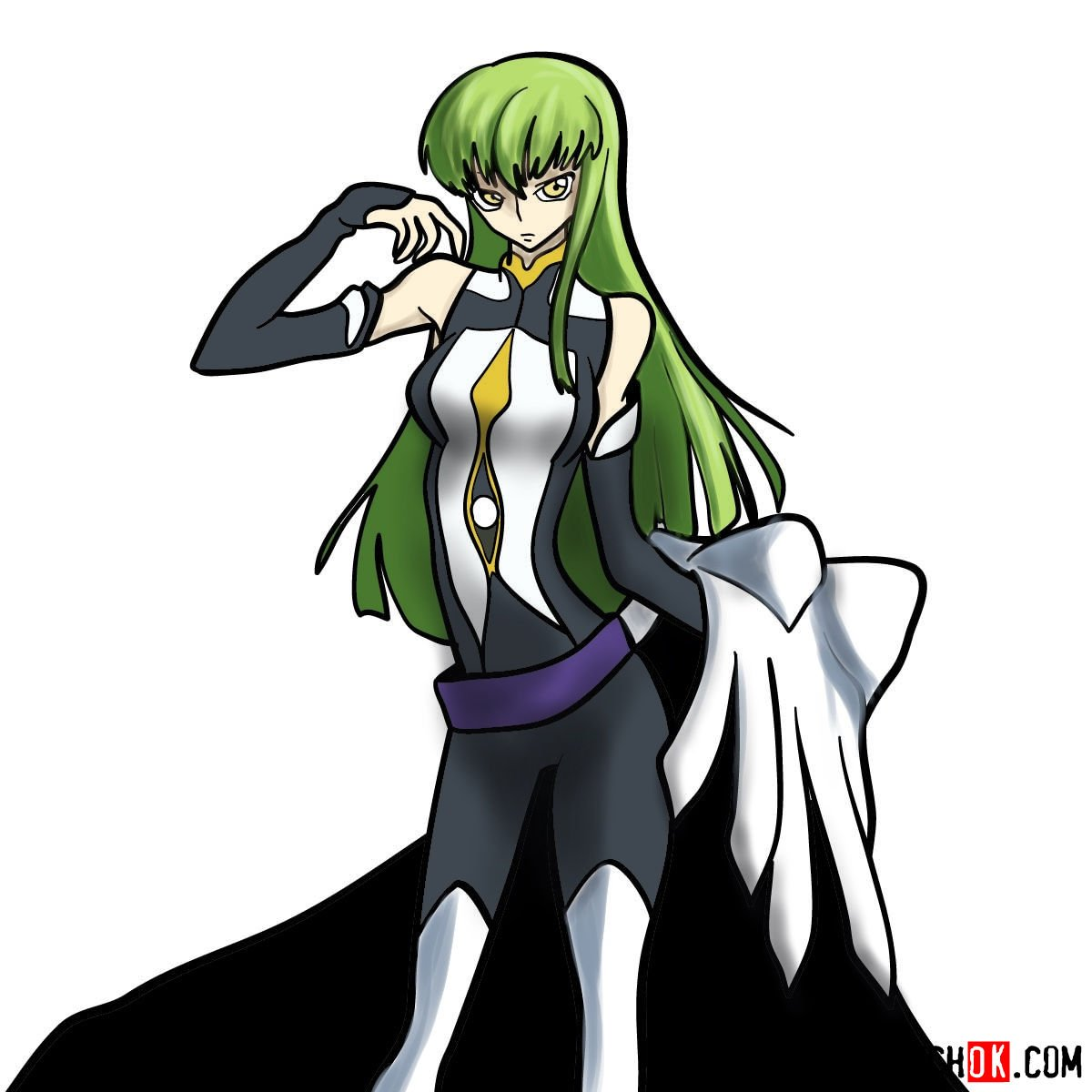 16 steps drawing guide of C.C. from Code Geass anime