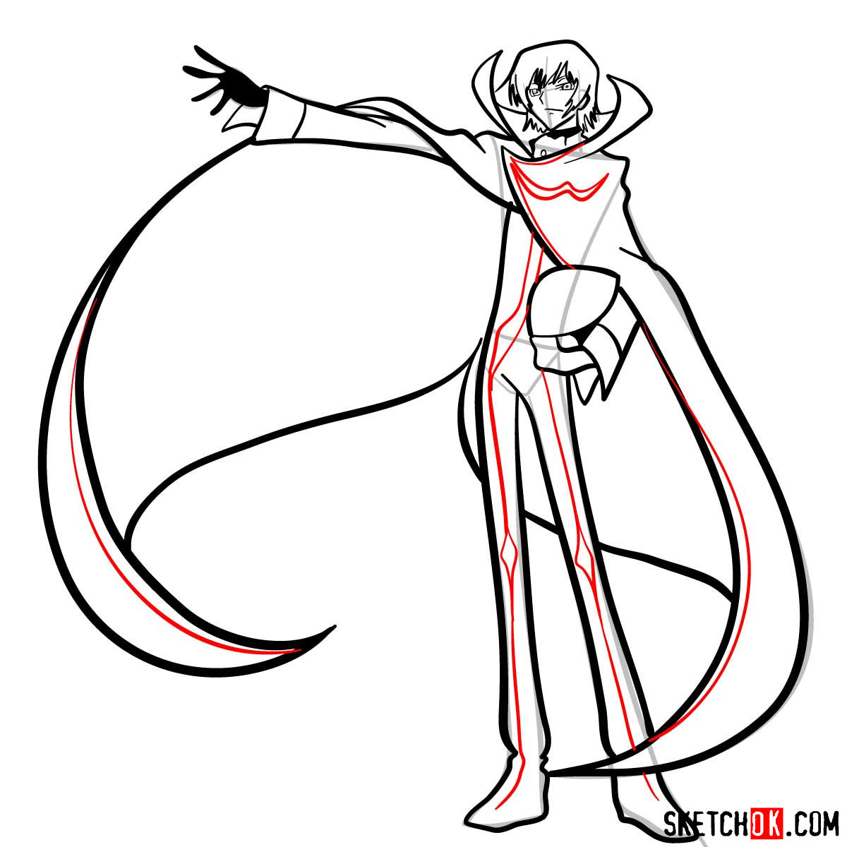 How to draw Lelouch Lamperouge | Code Geass anime - step 14