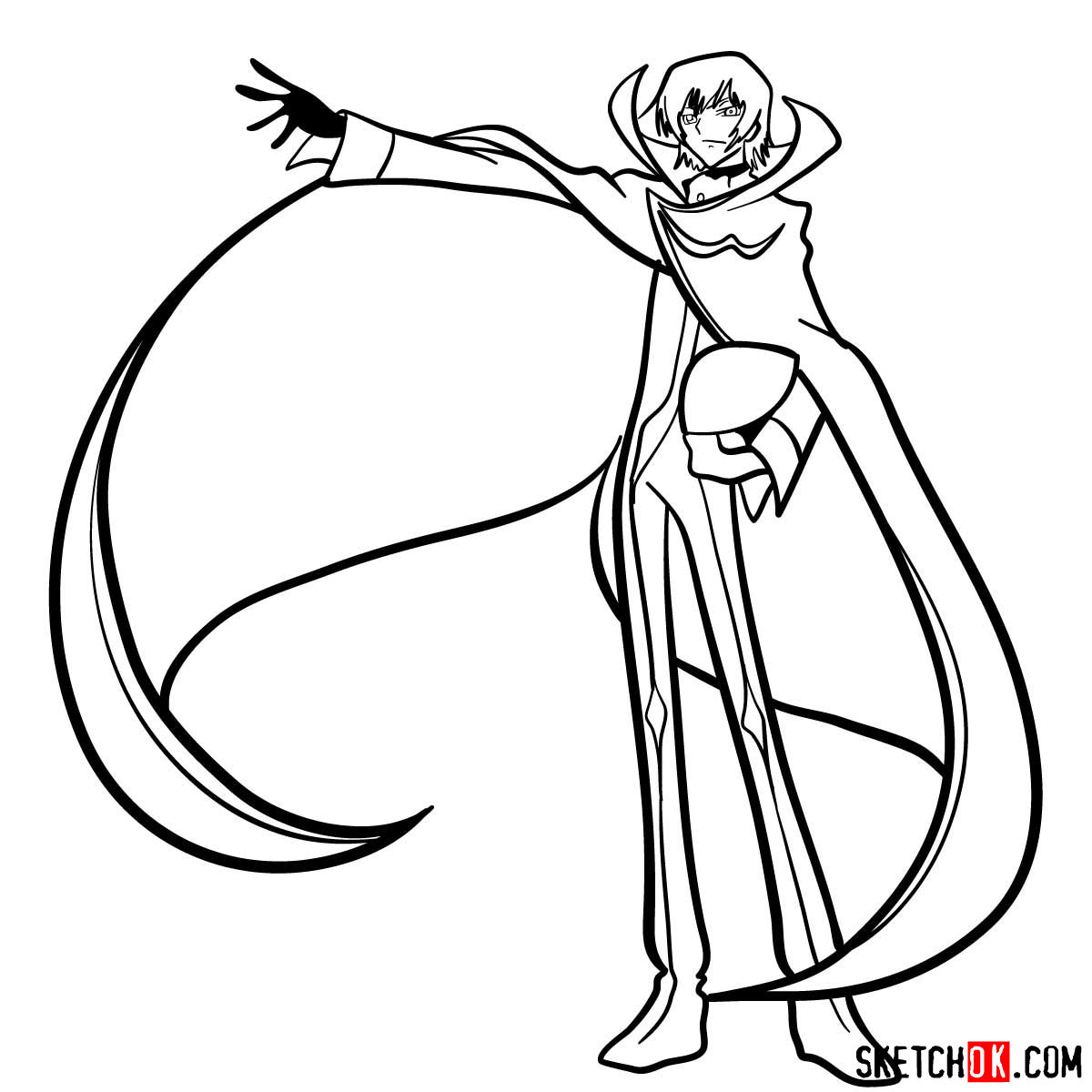How to draw Lelouch Lamperouge | Code Geass anime - step 15