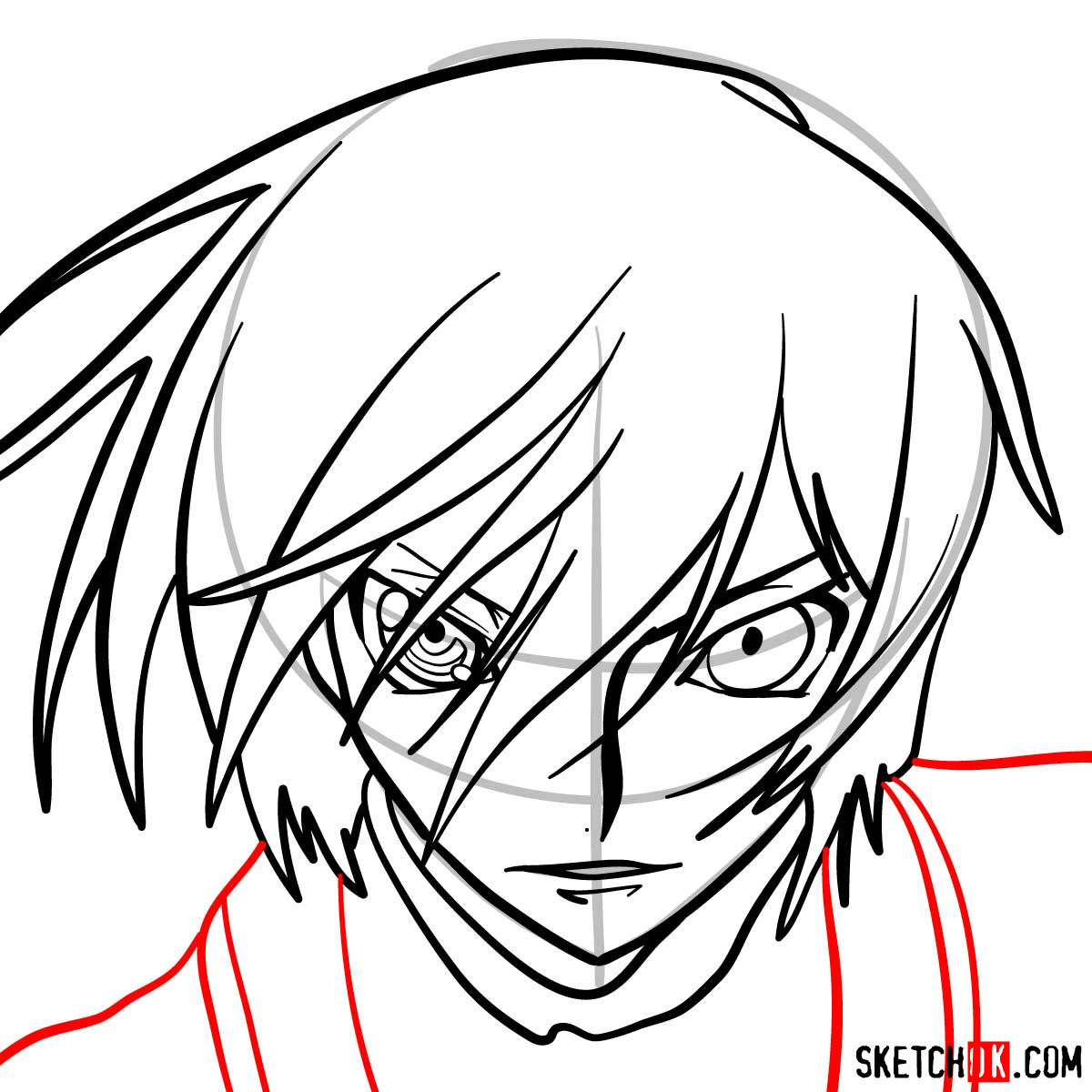 How to draw the face of Lelouch vi Britannia | Code Geass anime - step 07
