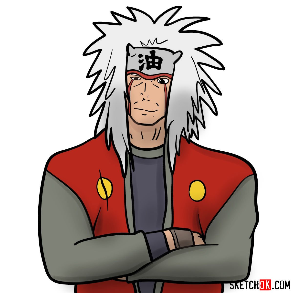 How to draw Jiraiya from Naruto anime