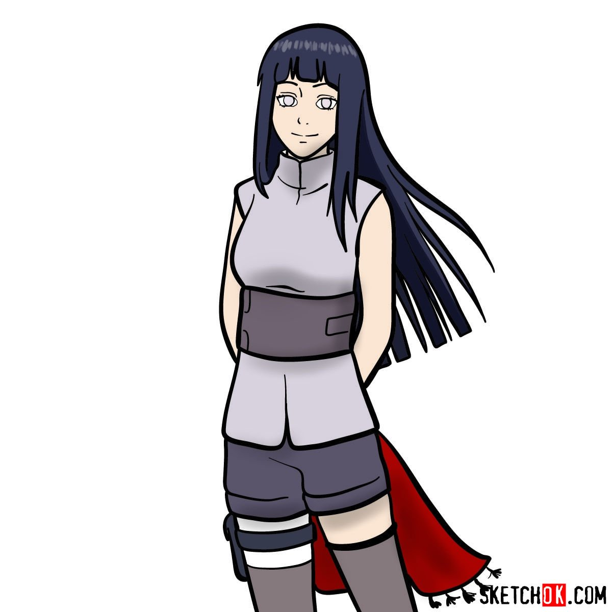 How to draw Hinata from Naruto anime