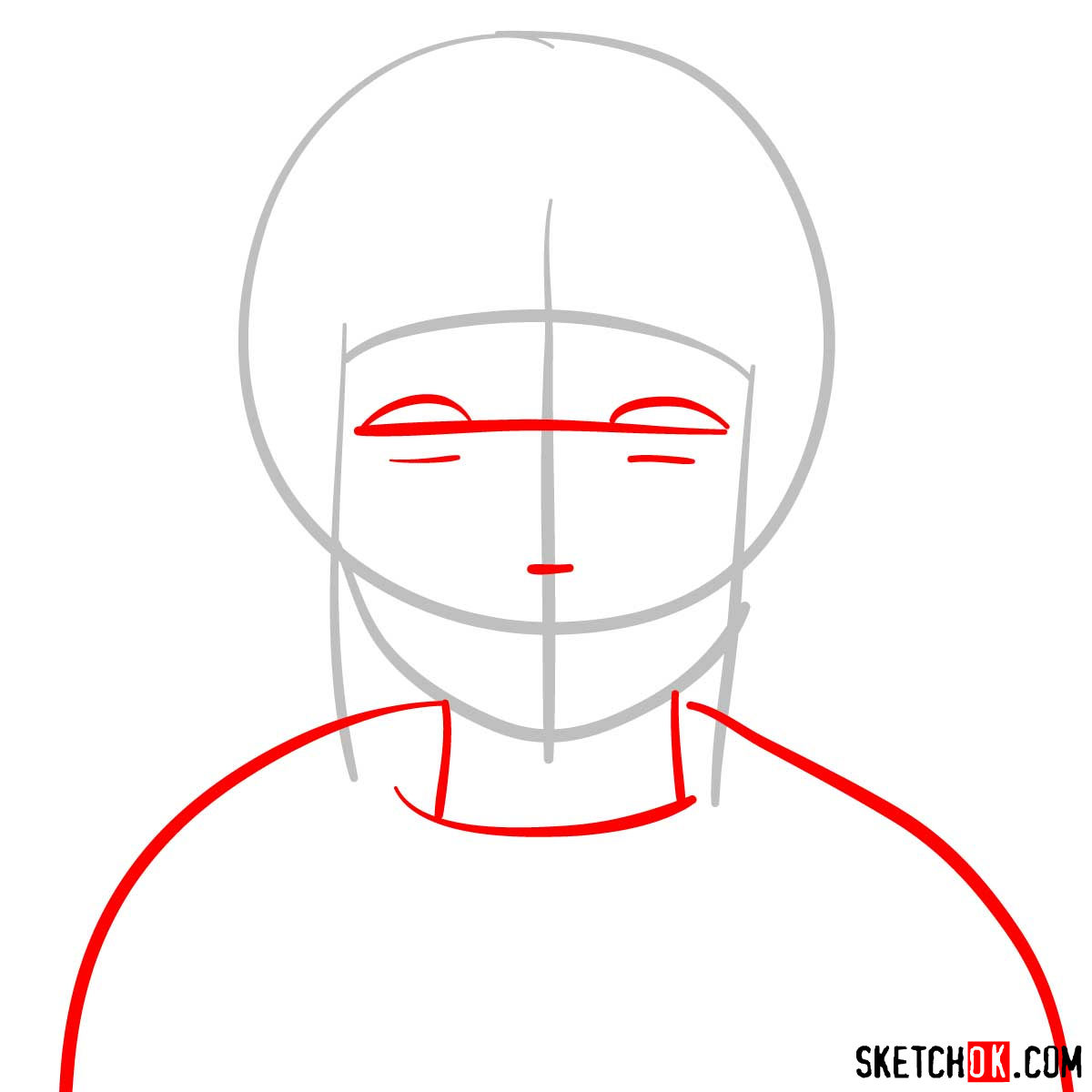 How to draw the face of Hinata (Naruto anime) - step 02