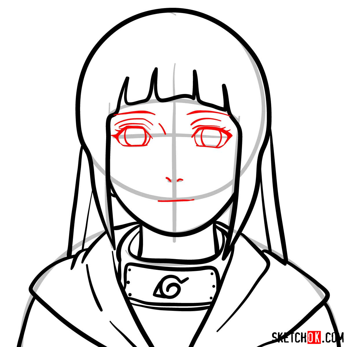 How to draw the face of Hinata (Naruto anime) - step 08