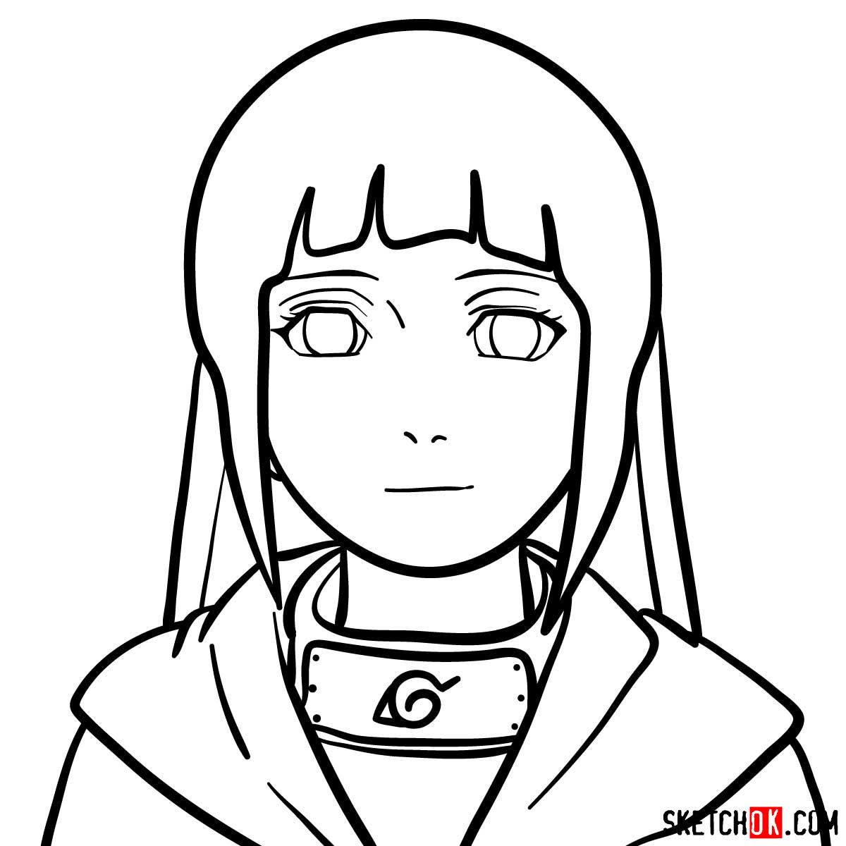 How to draw the face of Hinata (Naruto anime) - step 09