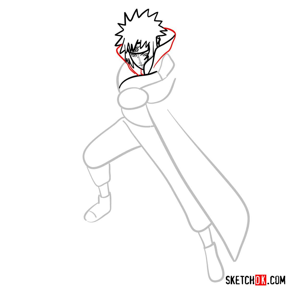 How to draw Minato Namikaze from Naruto anime - step 07