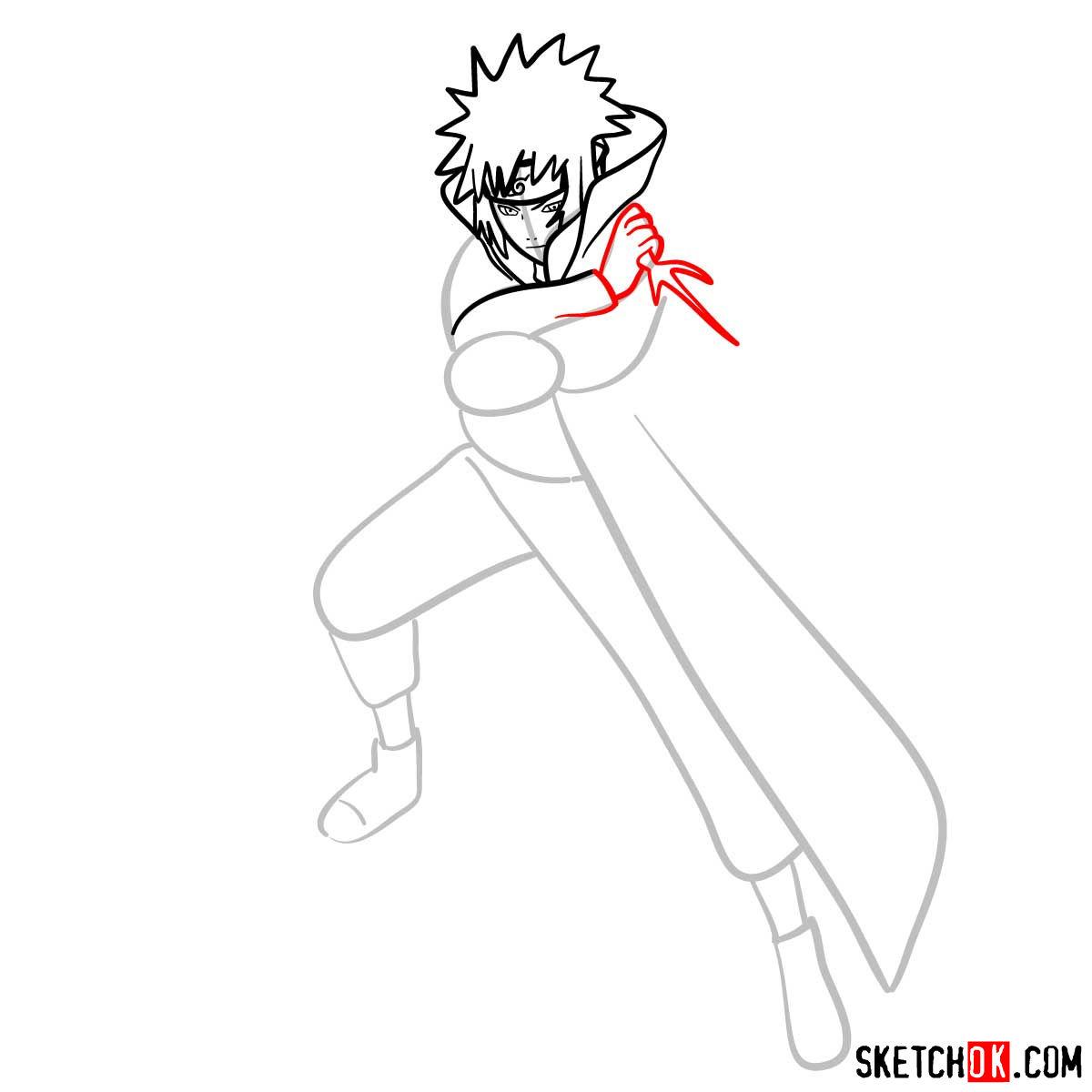 How to draw Minato Namikaze from Naruto anime - step 08