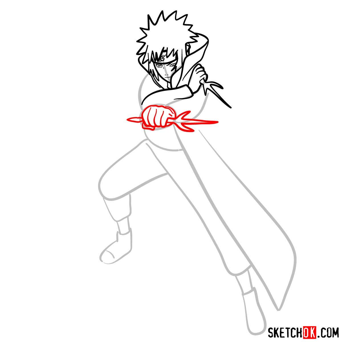 How to draw Minato Namikaze from Naruto anime - step 09