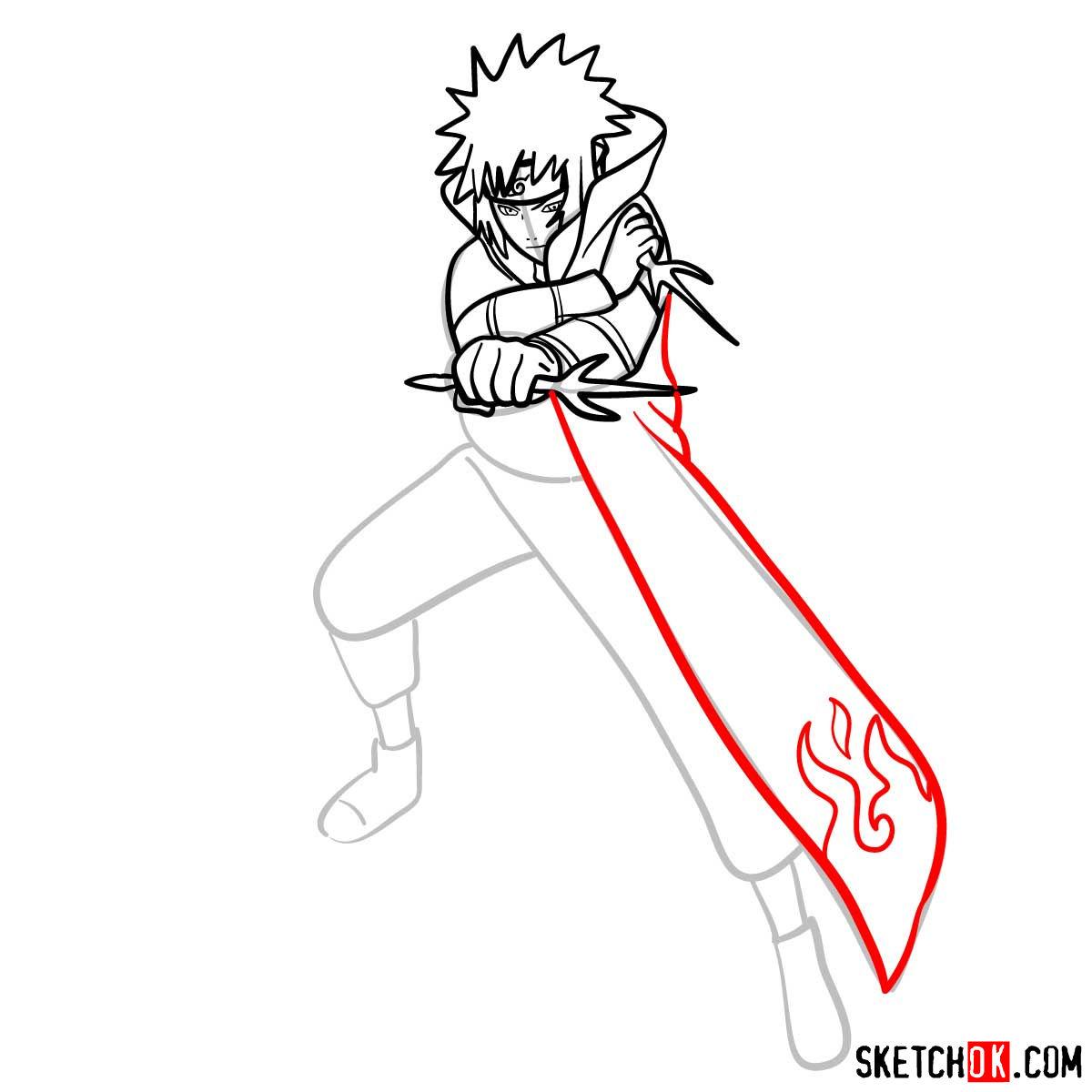 How to draw Minato Namikaze from Naruto anime - step 11