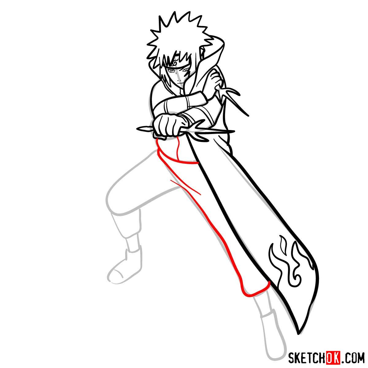 How to draw Minato Namikaze from Naruto anime - step 12