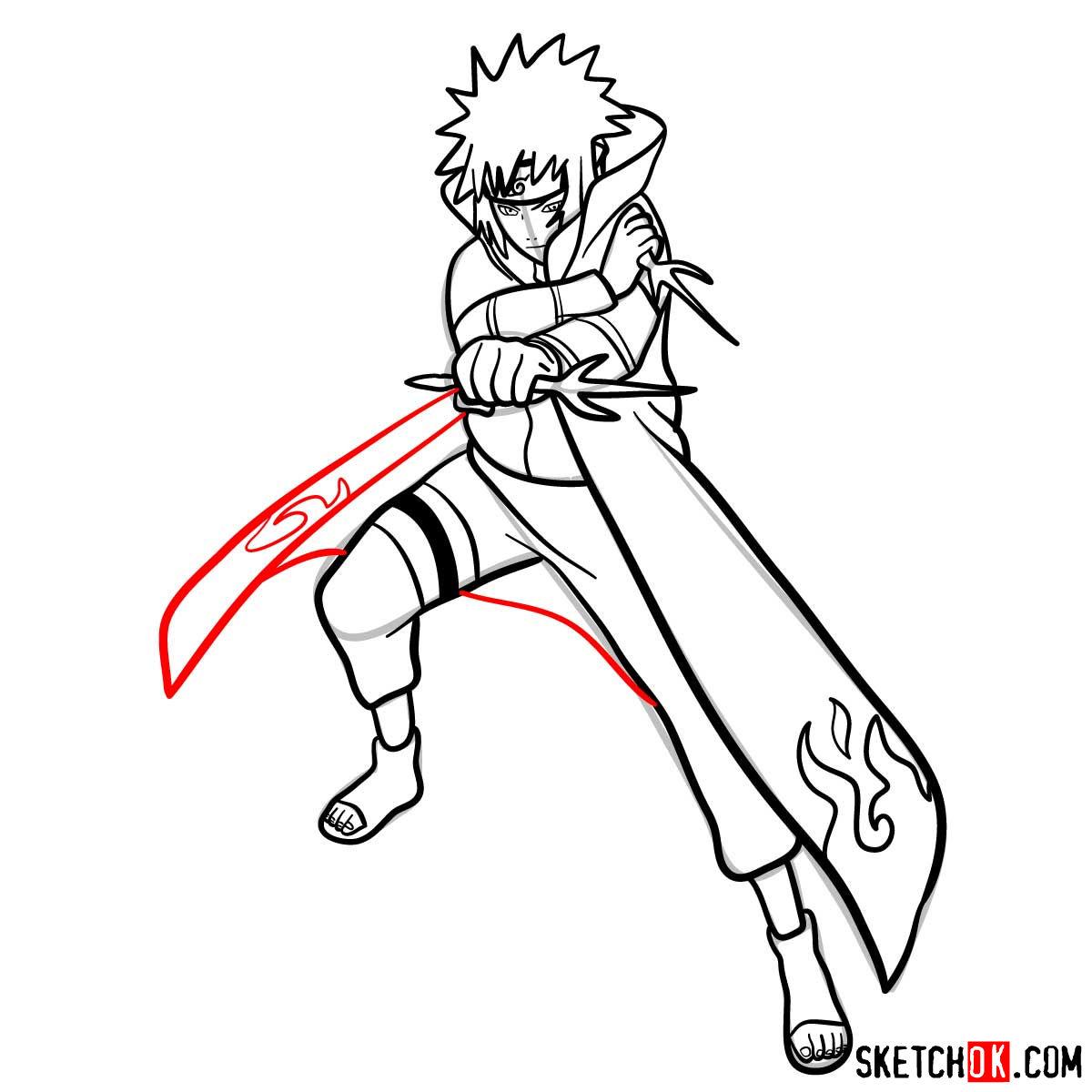 How to draw Minato Namikaze from Naruto anime - step 15