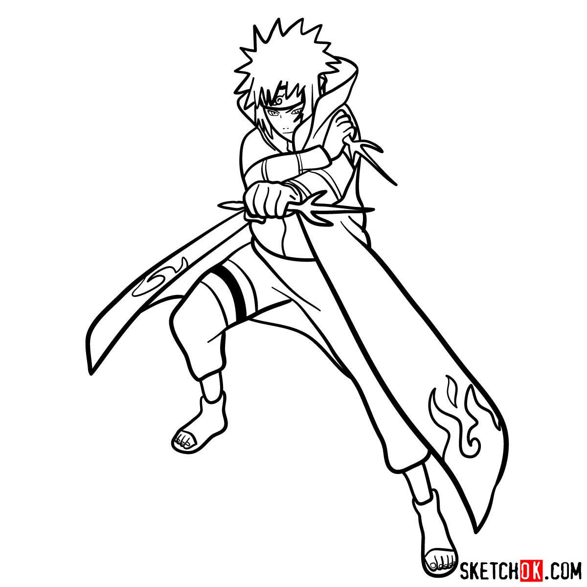 How to draw Minato Namikaze from Naruto anime - step 16