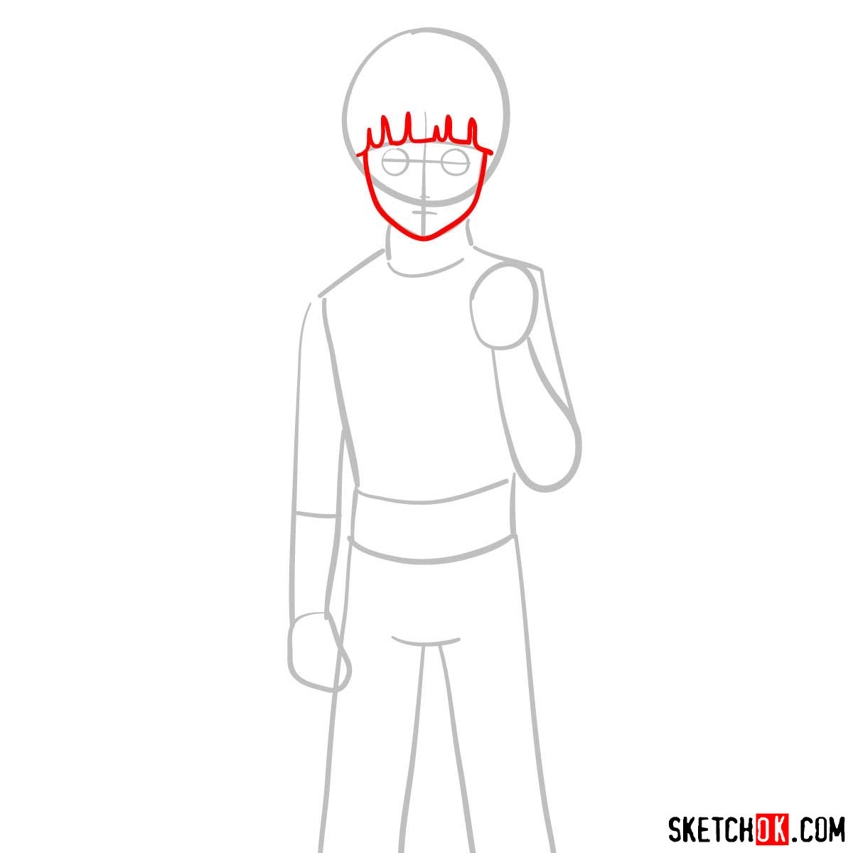 How to draw Rock Lee from Naruto anime - step 03