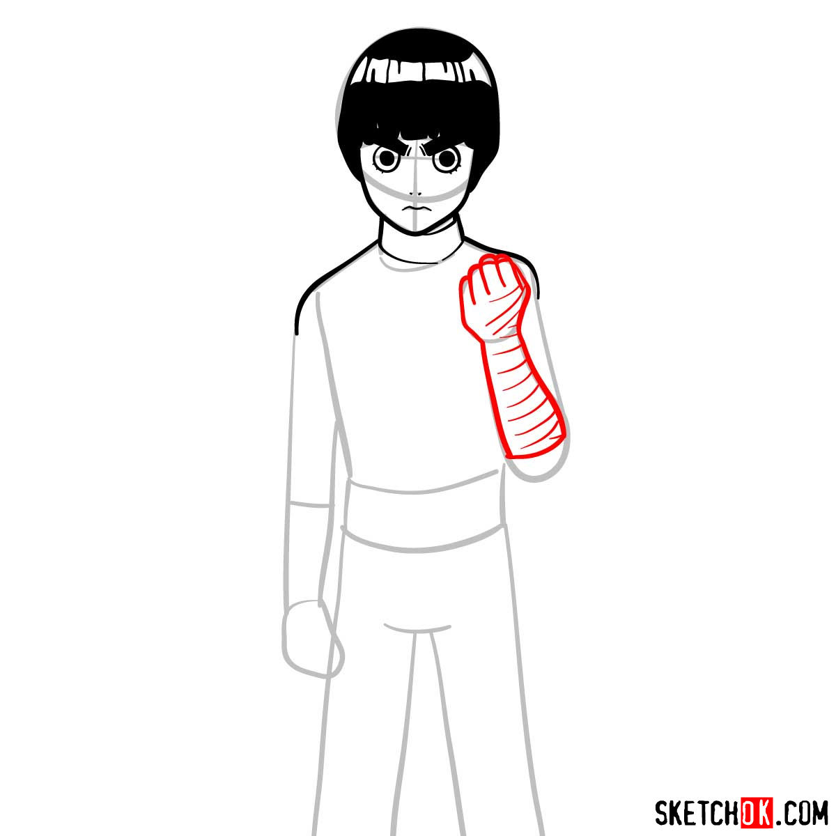 How to draw Rock Lee from Naruto anime - step 07
