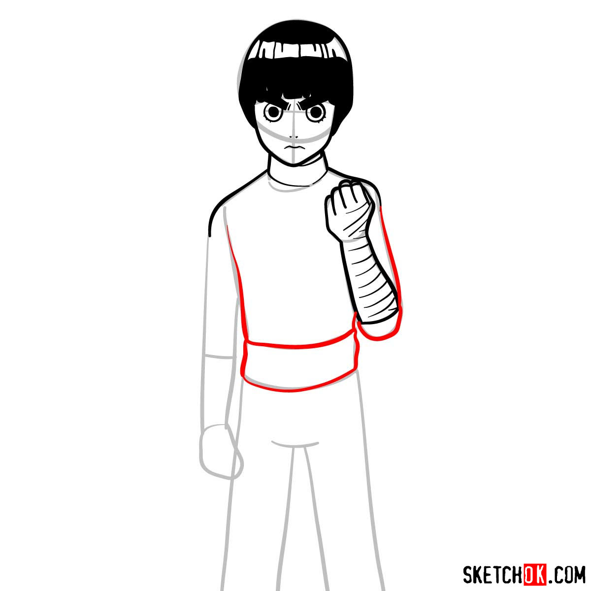 How to draw Rock Lee from Naruto anime - step 08