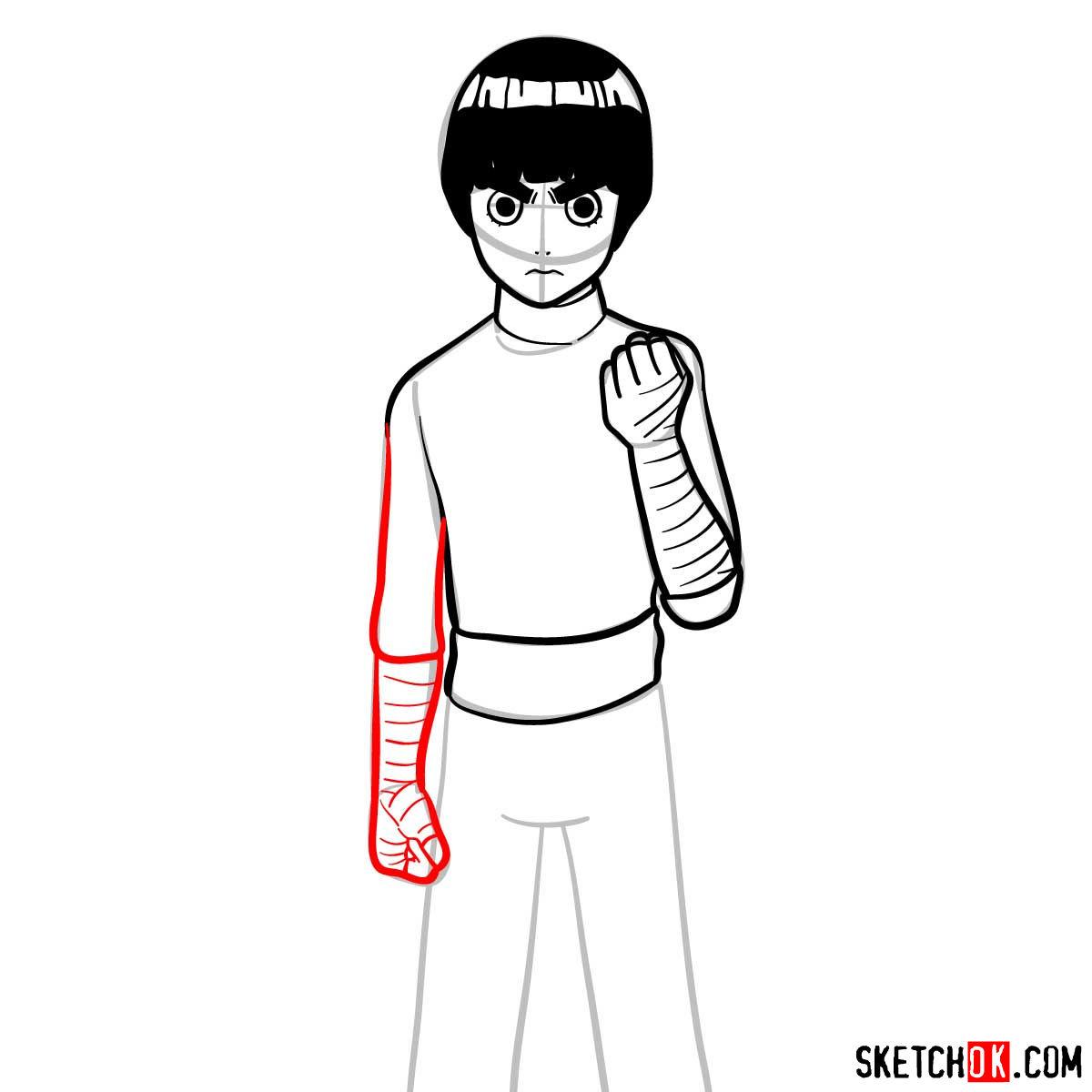 How to draw Rock Lee from Naruto anime - step 09