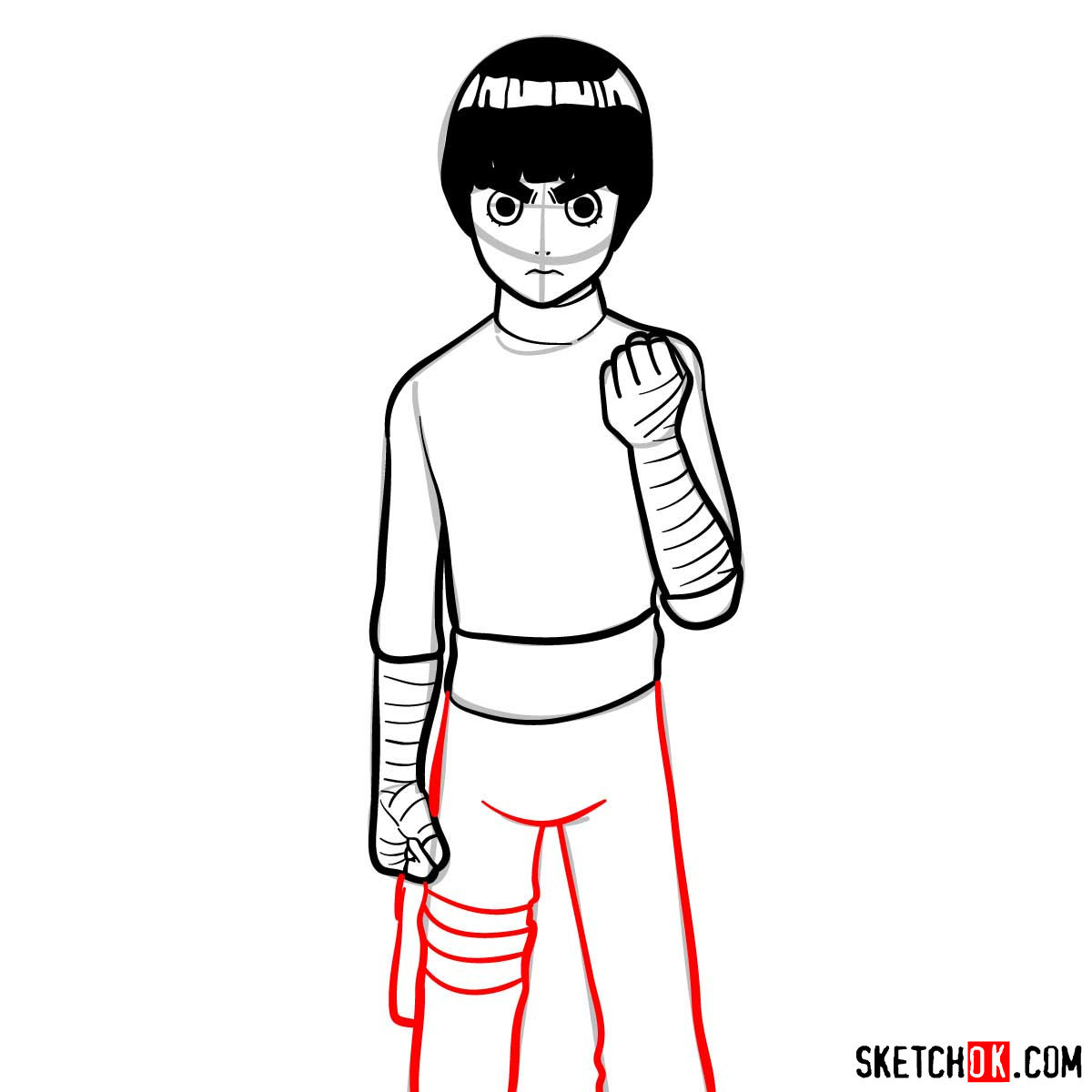 How to draw Rock Lee from Naruto anime - step 10