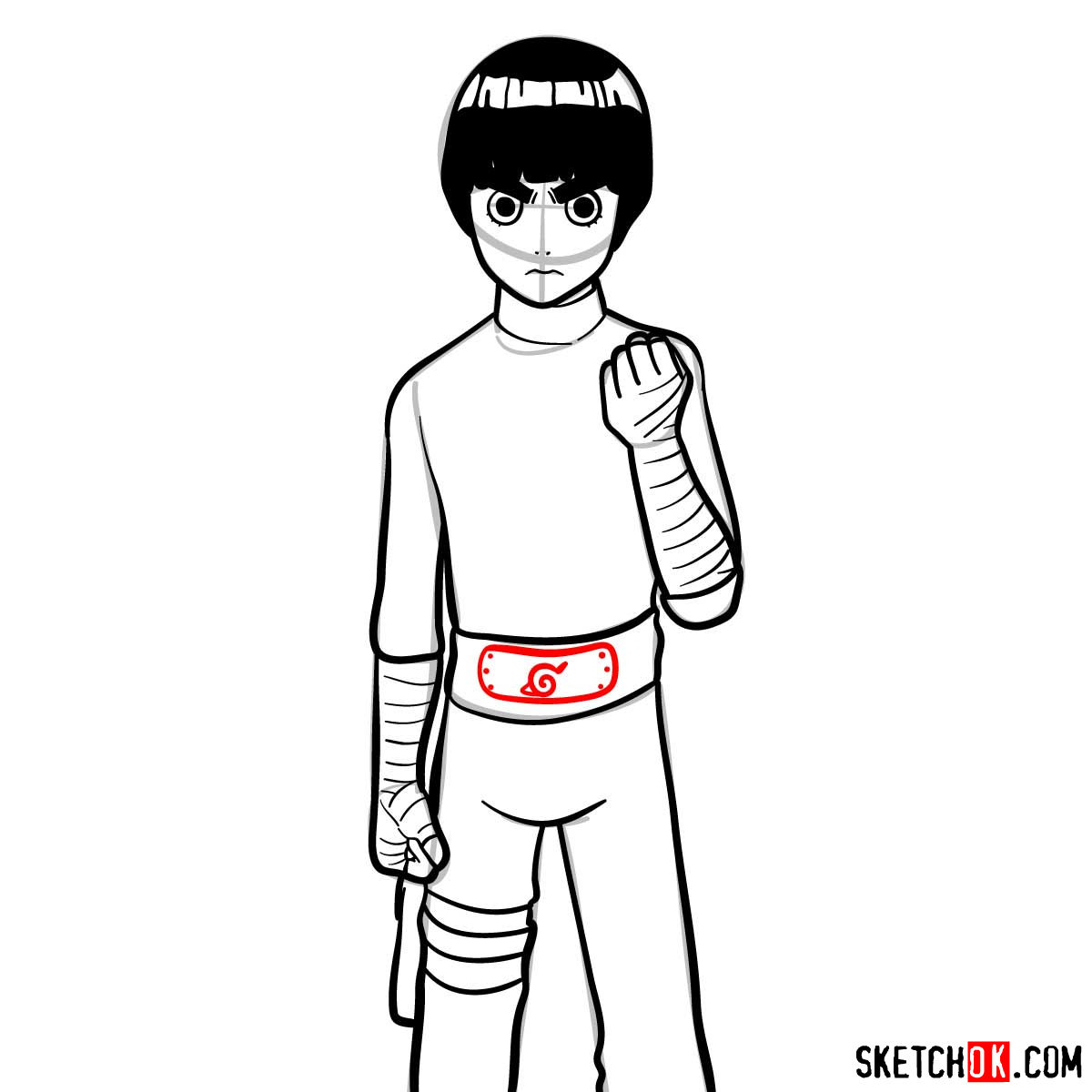 How to draw Rock Lee from Naruto anime - step 11