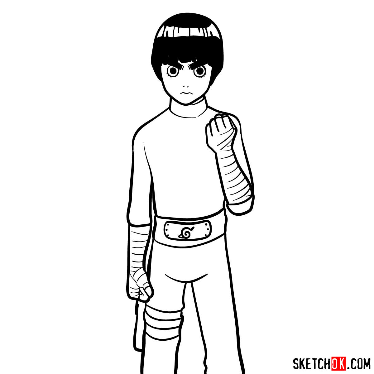 How to draw Rock Lee from Naruto anime - step 12