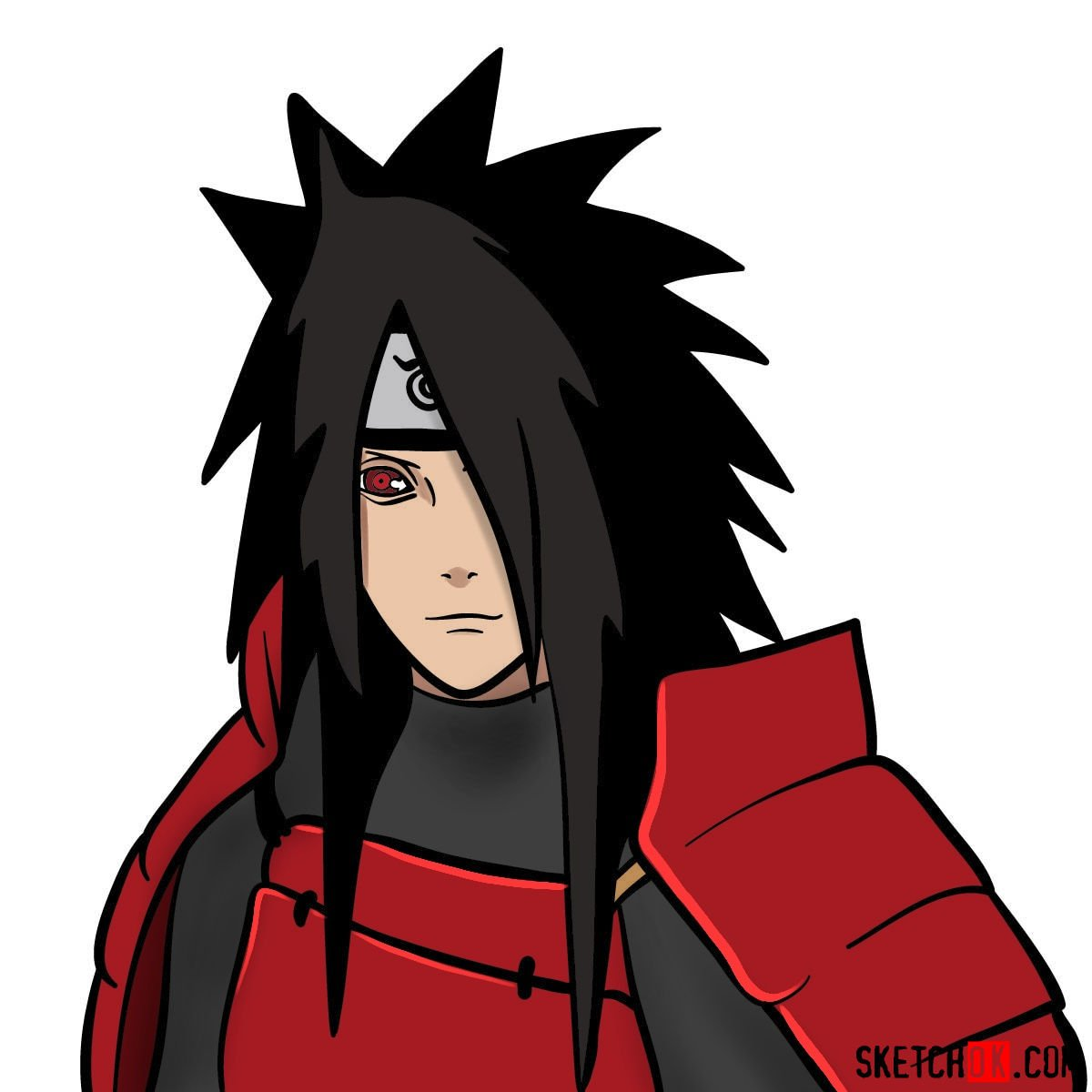 How to draw the face of Madara Uchiha (Naruto)