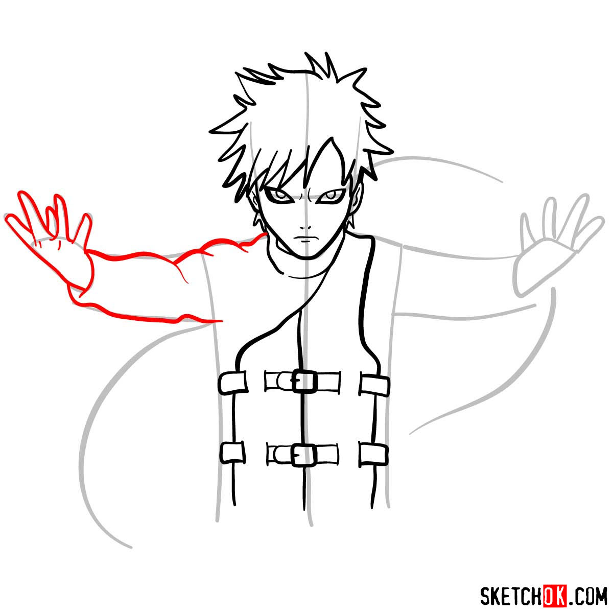 How to draw Gaara from Naruto anime - step 08