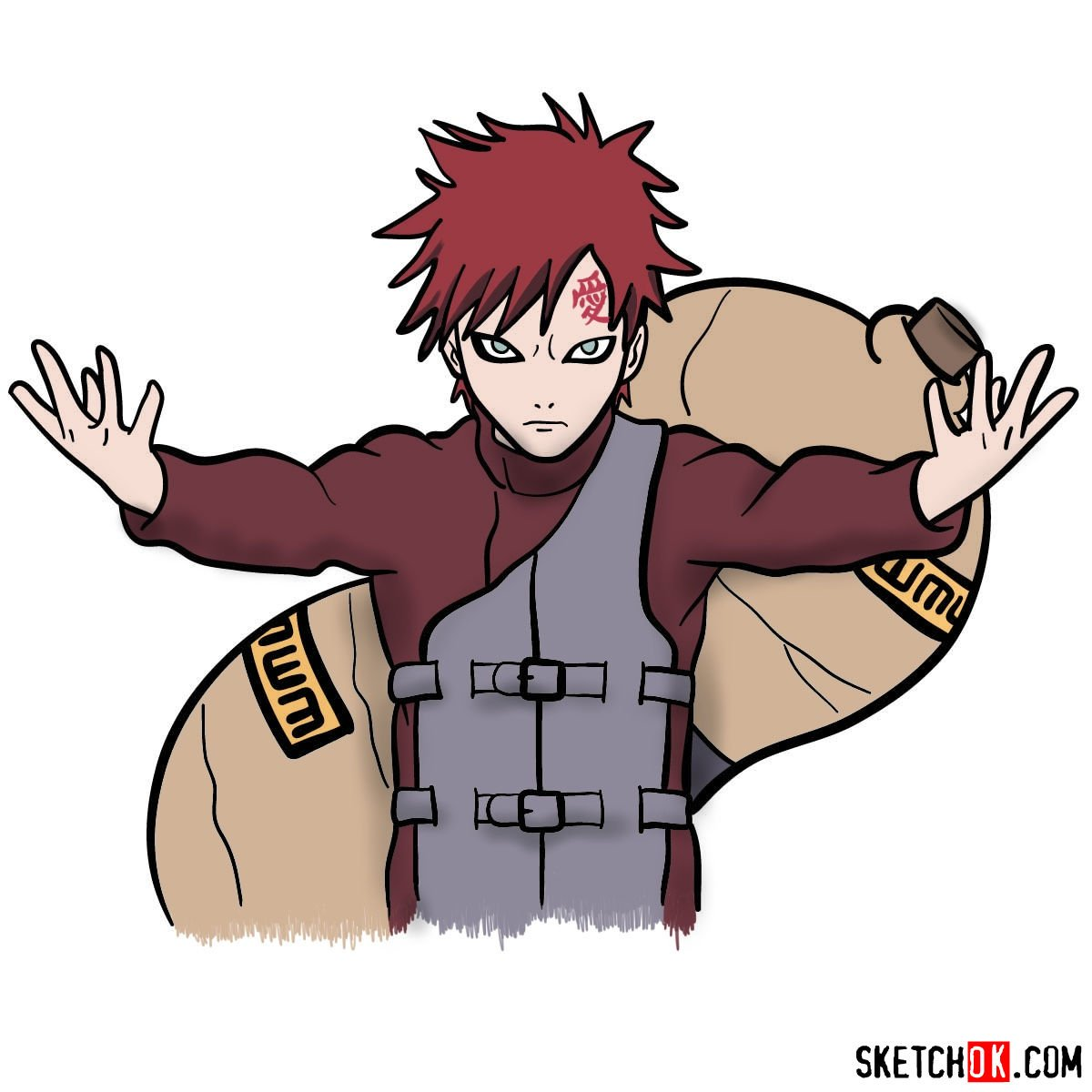 How to draw Gaara from Naruto anime