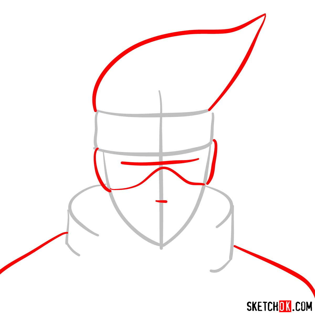 How to draw the face of Kakashi Hatake (Naruto) - step 02