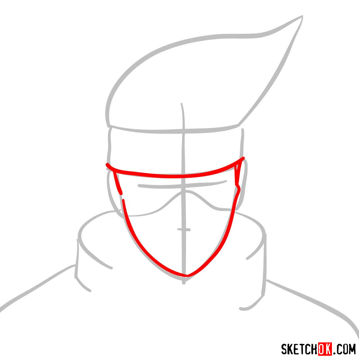 How to draw the face of Kakashi Hatake (Naruto) - step 03
