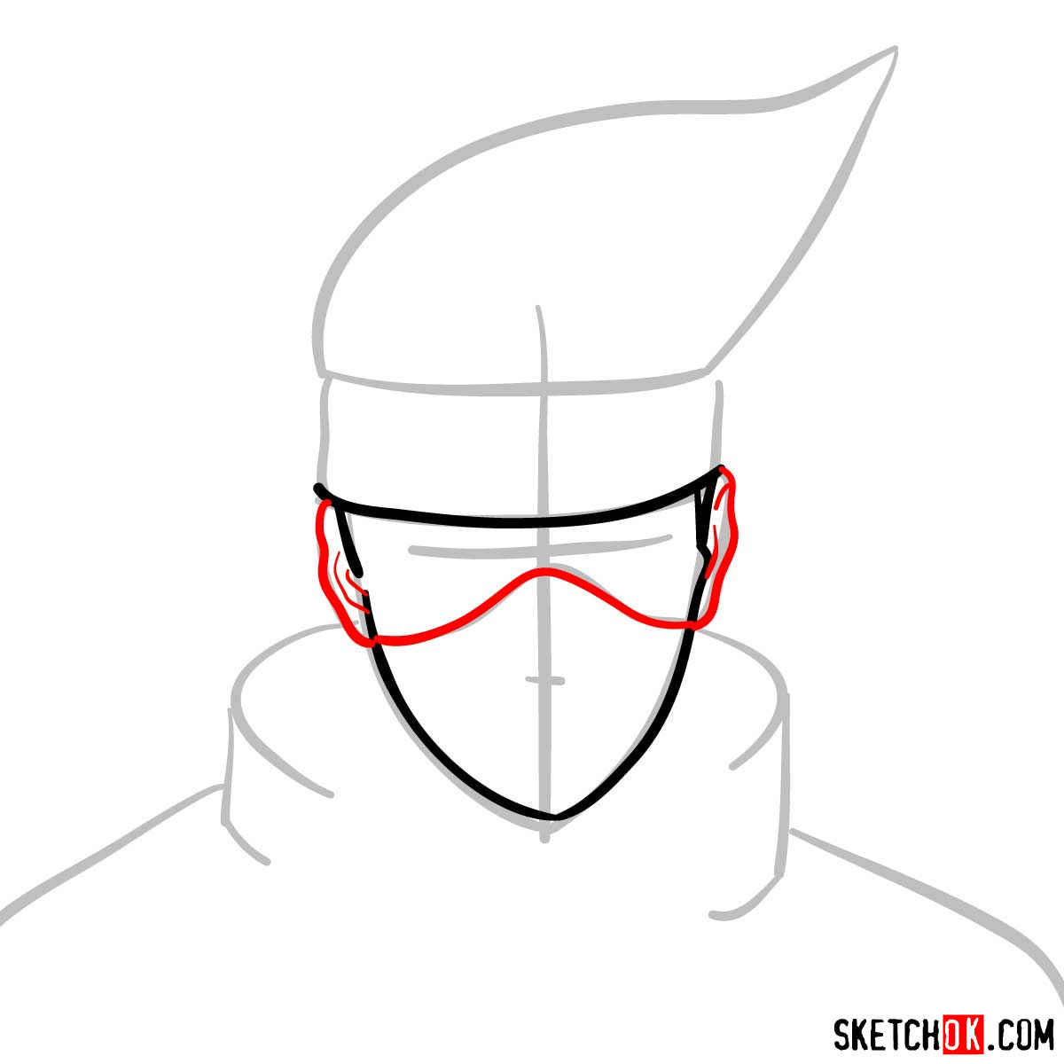 How to draw the face of Kakashi Hatake (Naruto) - step 04