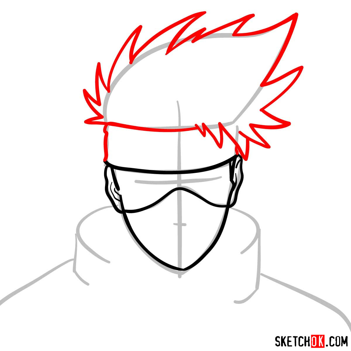 How to draw the face of Kakashi Hatake (Naruto) - step 05