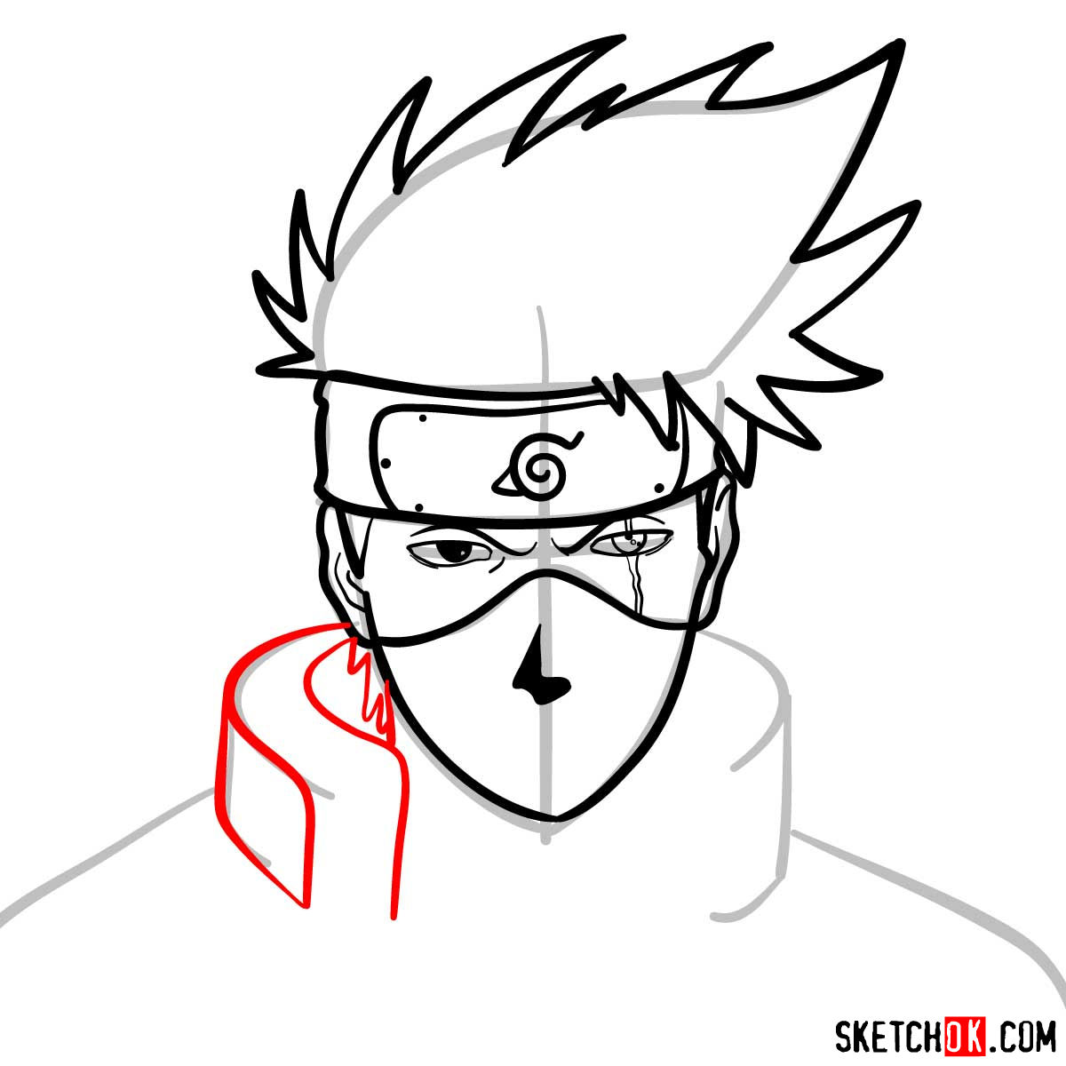 How to draw the face of Kakashi Hatake (Naruto) - step 08