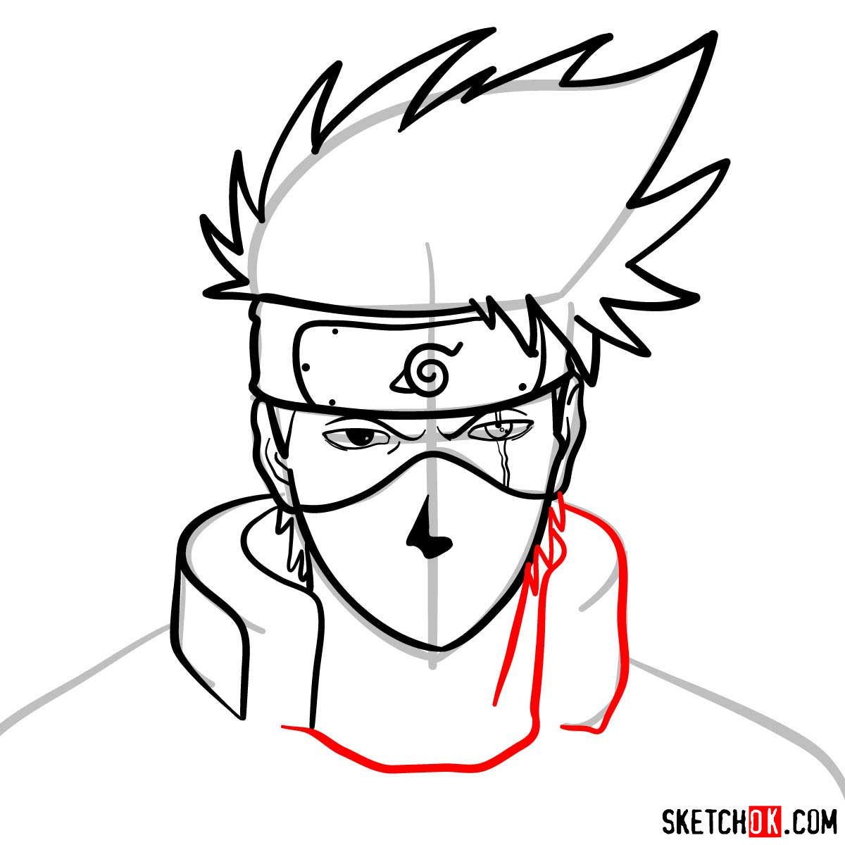How to draw the face of Kakashi Hatake (Naruto) - step 09